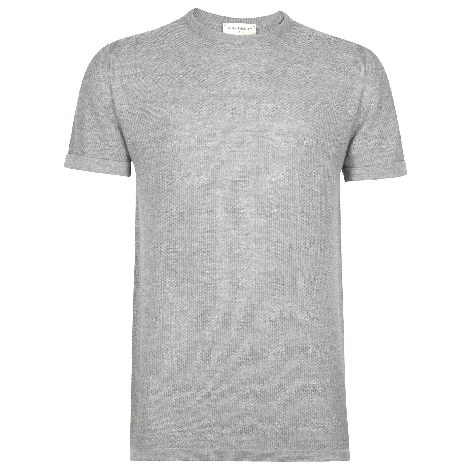John Smedley 2Singular Merino Wool T-Shirt in Bardot Grey-M
