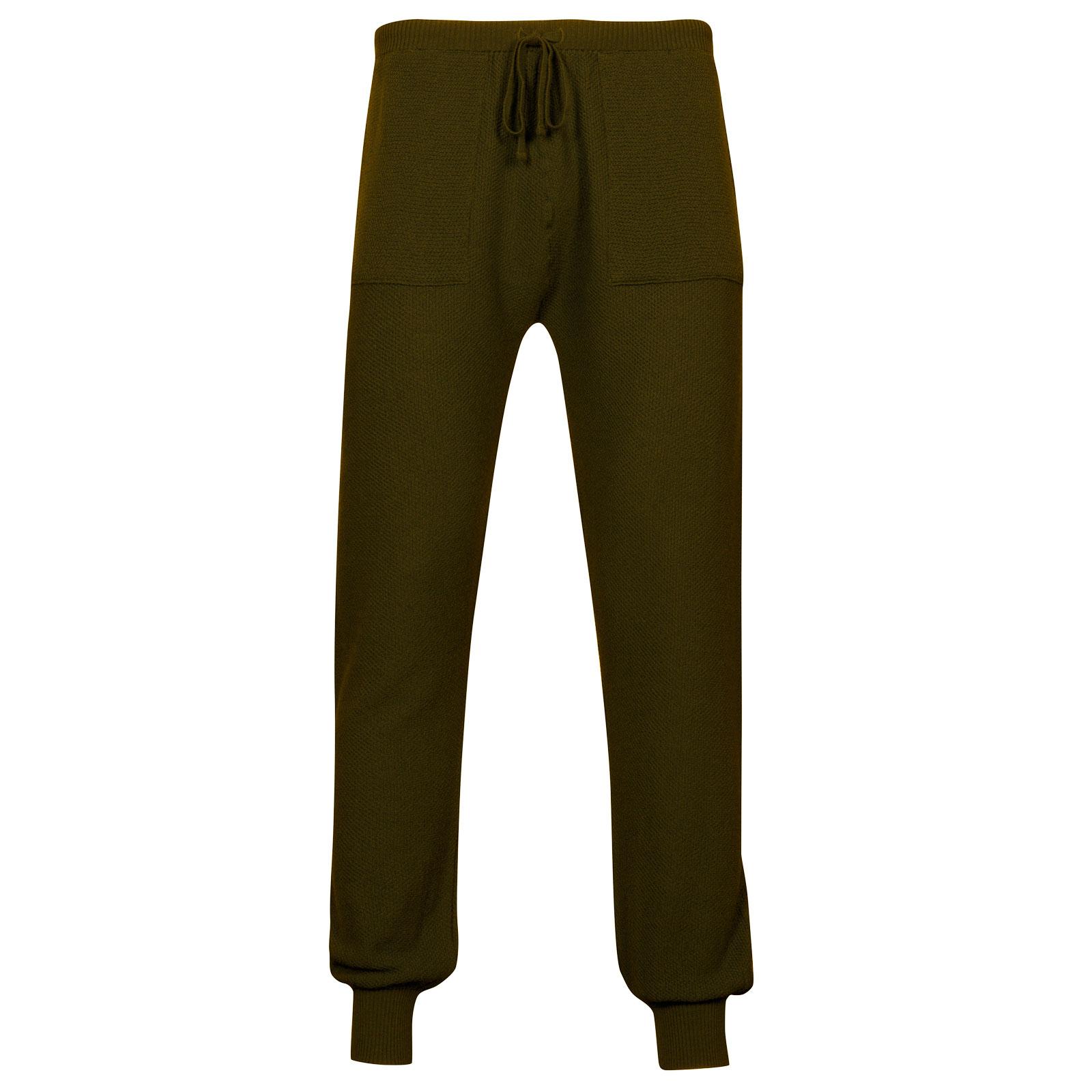 John Smedley 5Singular Merino Wool Trouser in Khaki-XXL