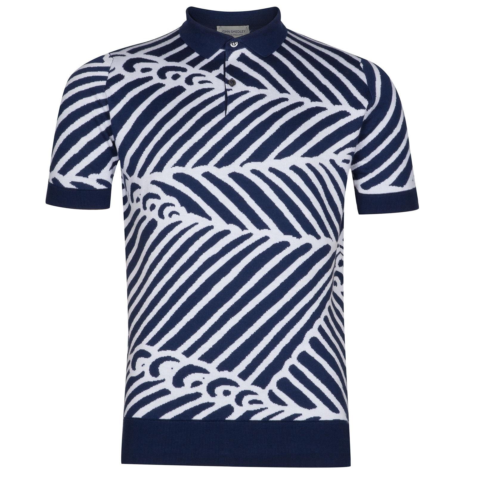 John Smedley Abbington Sea Island Cotton Polo Shirt in Indigo-XXL