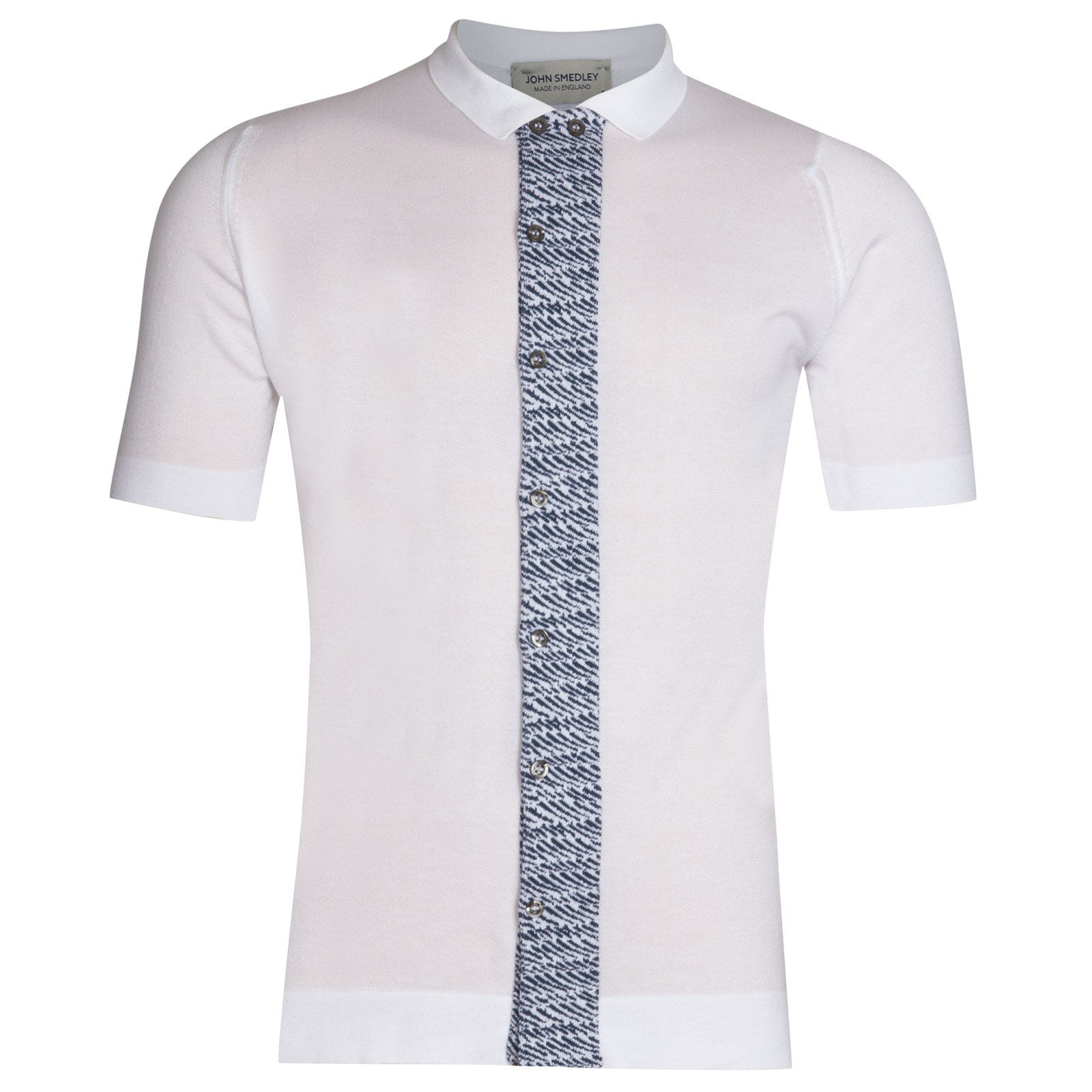 John Smedley Ackington Sea Island Cotton Polo Shirt in White-SML
