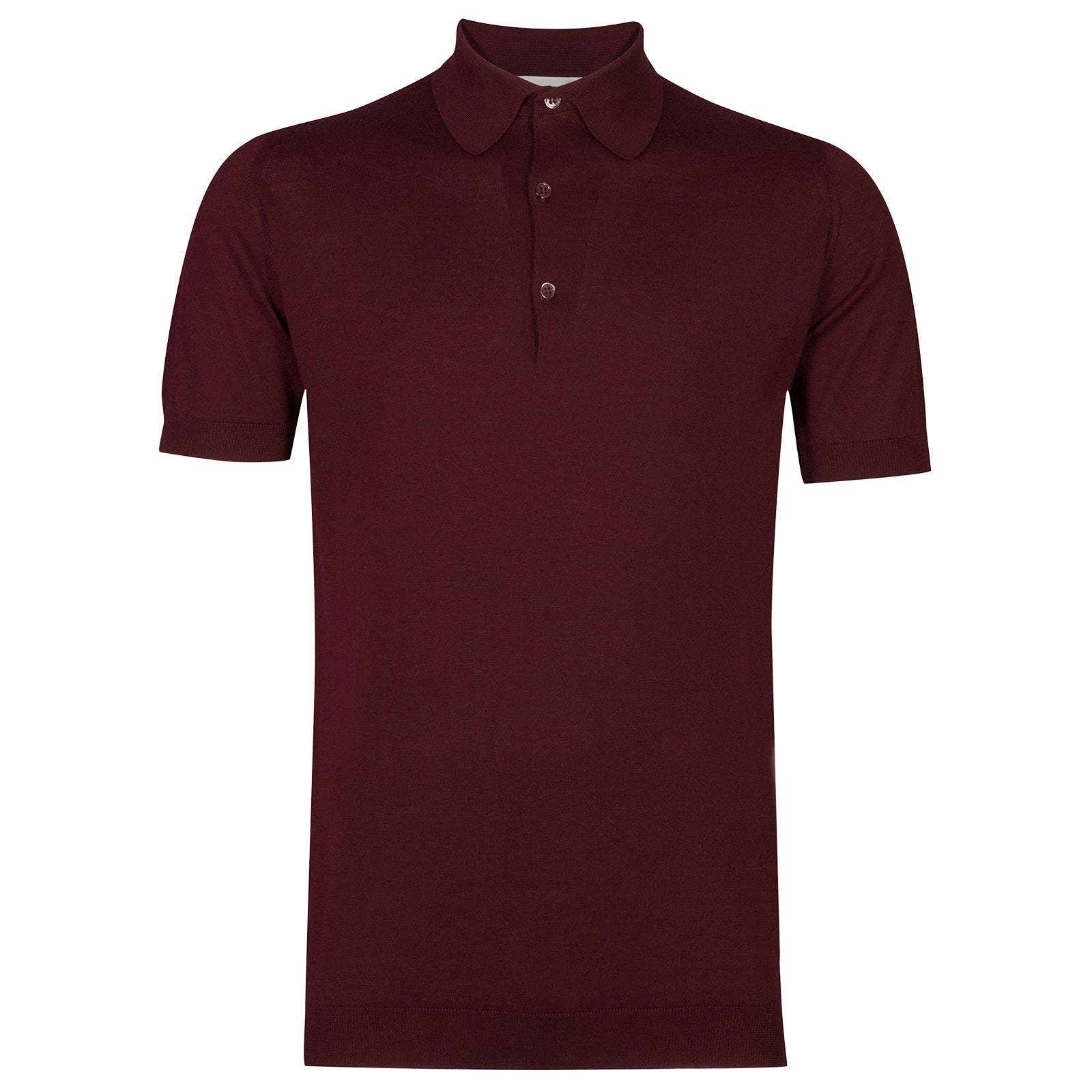 John Smedley Adrian Sea Island Cotton Shirt in Bordeaux-XXL
