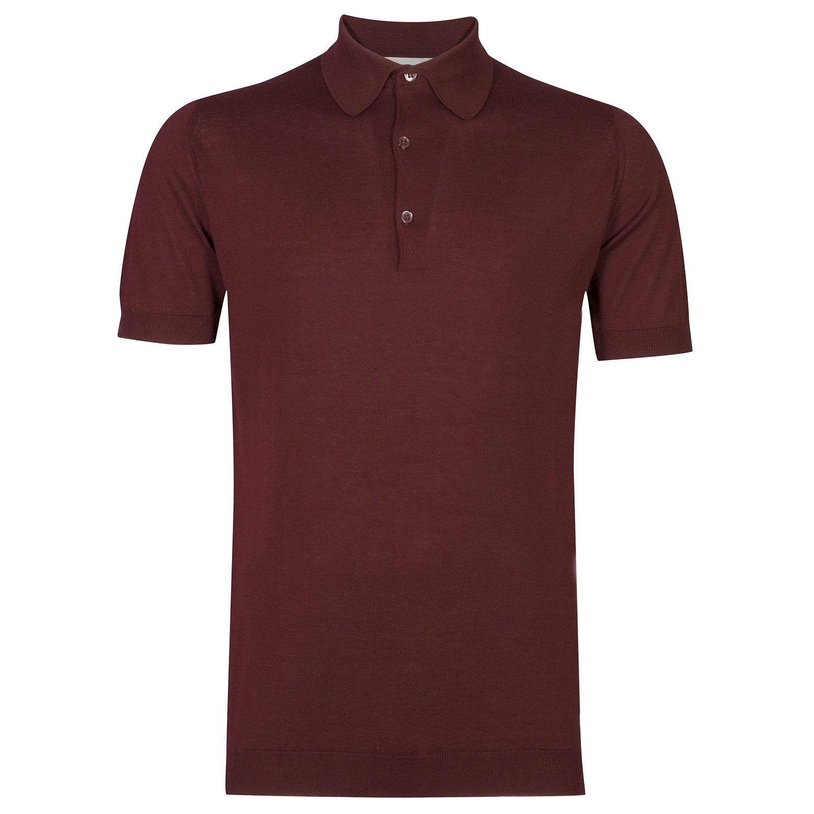 John Smedley Adrian Sea Island Cotton Shirt in Burgundy Grain-XL