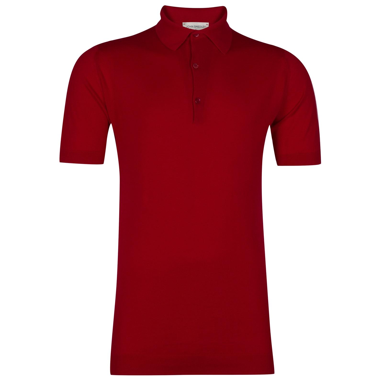 John Smedley Adrian Sea Island Cotton Shirt in Dandy Red-L