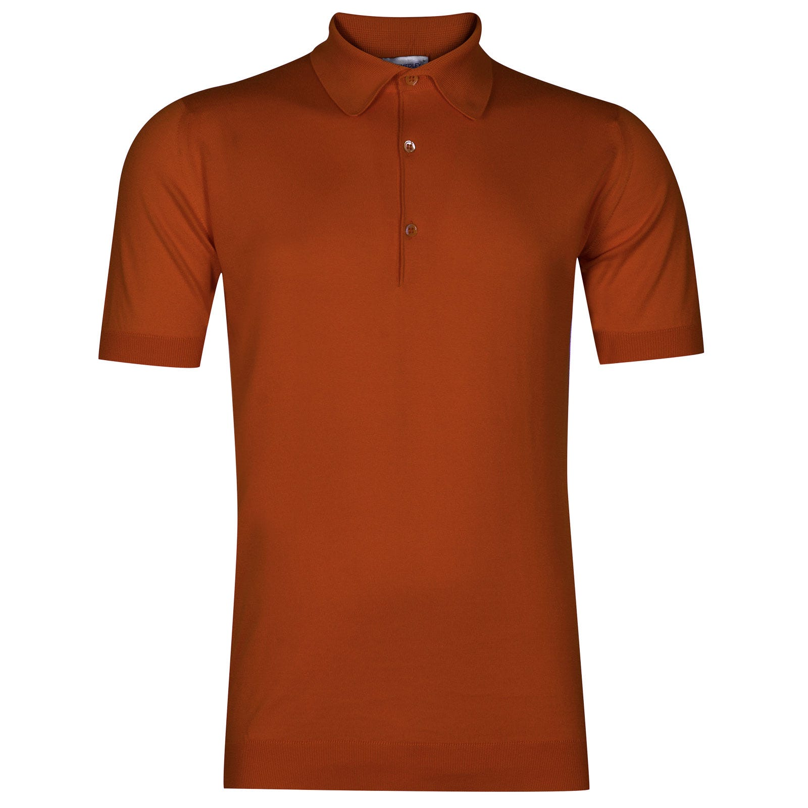 John Smedley adrian Sea Island Cotton Shirt in Flare Orange-M