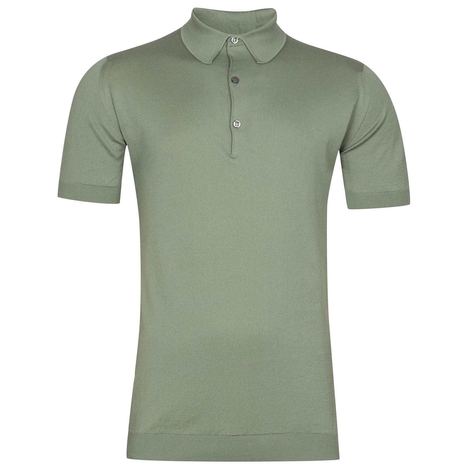 John Smedley Adrian Sea Island Cotton Shirt in Gauge Green-S