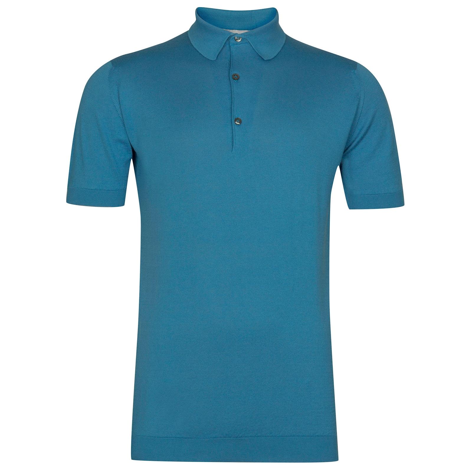 John Smedley Adrian Sea Island Cotton Shirt in Ionize Blue-XL