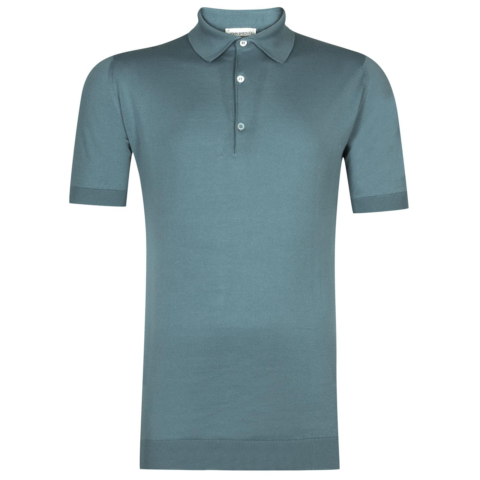 John Smedley adrian Sea Island Cotton Shirt in Summit Blue-S