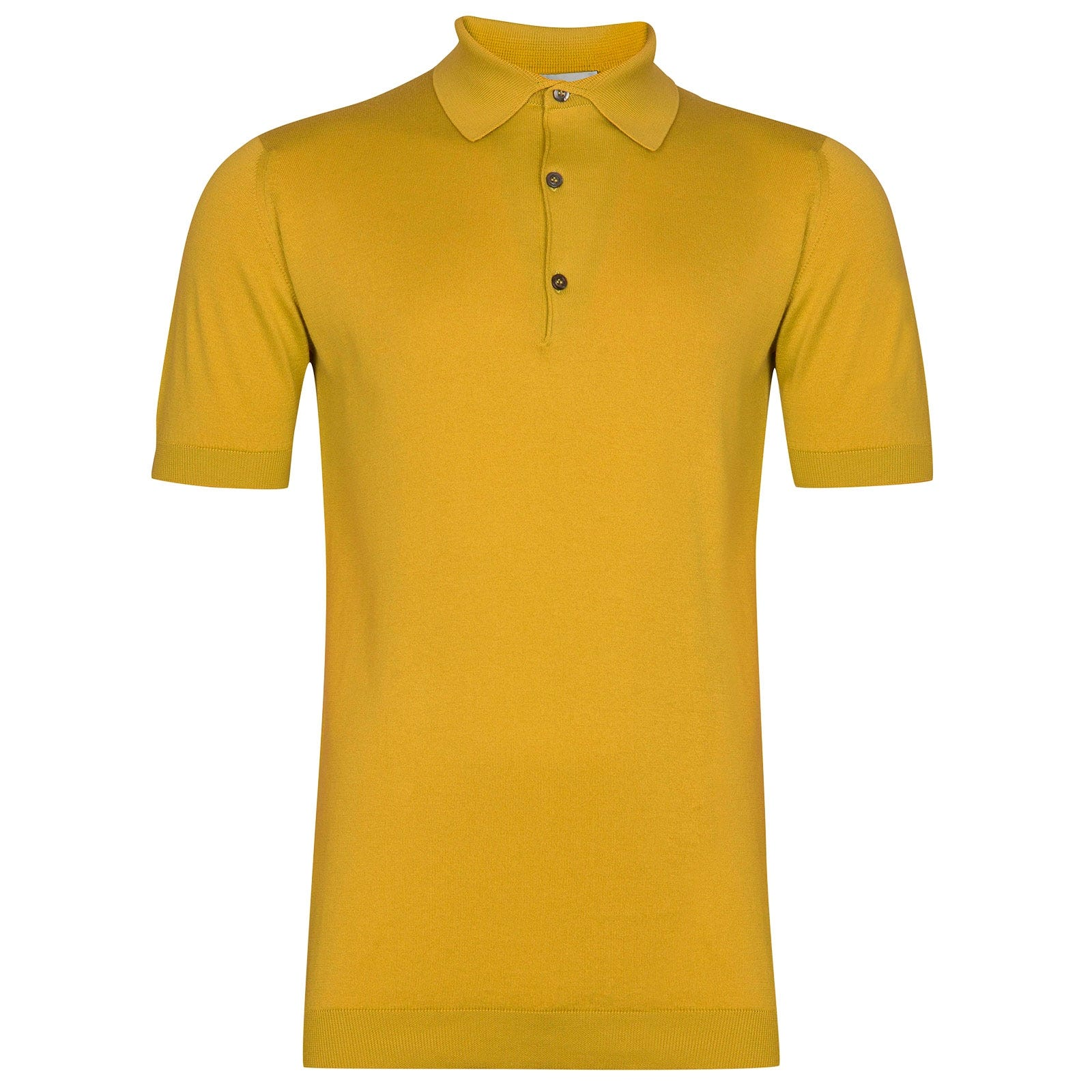 John Smedley Adrian Sea Island Cotton Shirt in Tailors Yellow-M