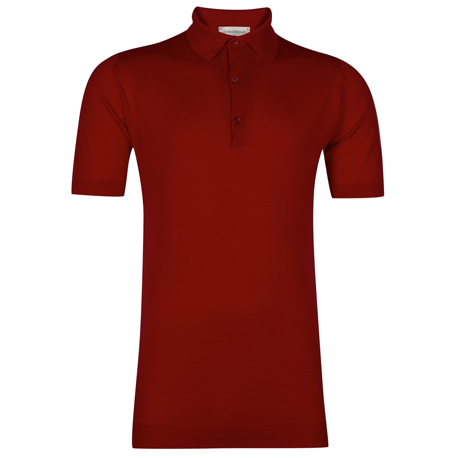John Smedley Adrian Sea Island Cotton Shirt in Thermal Red-XXL