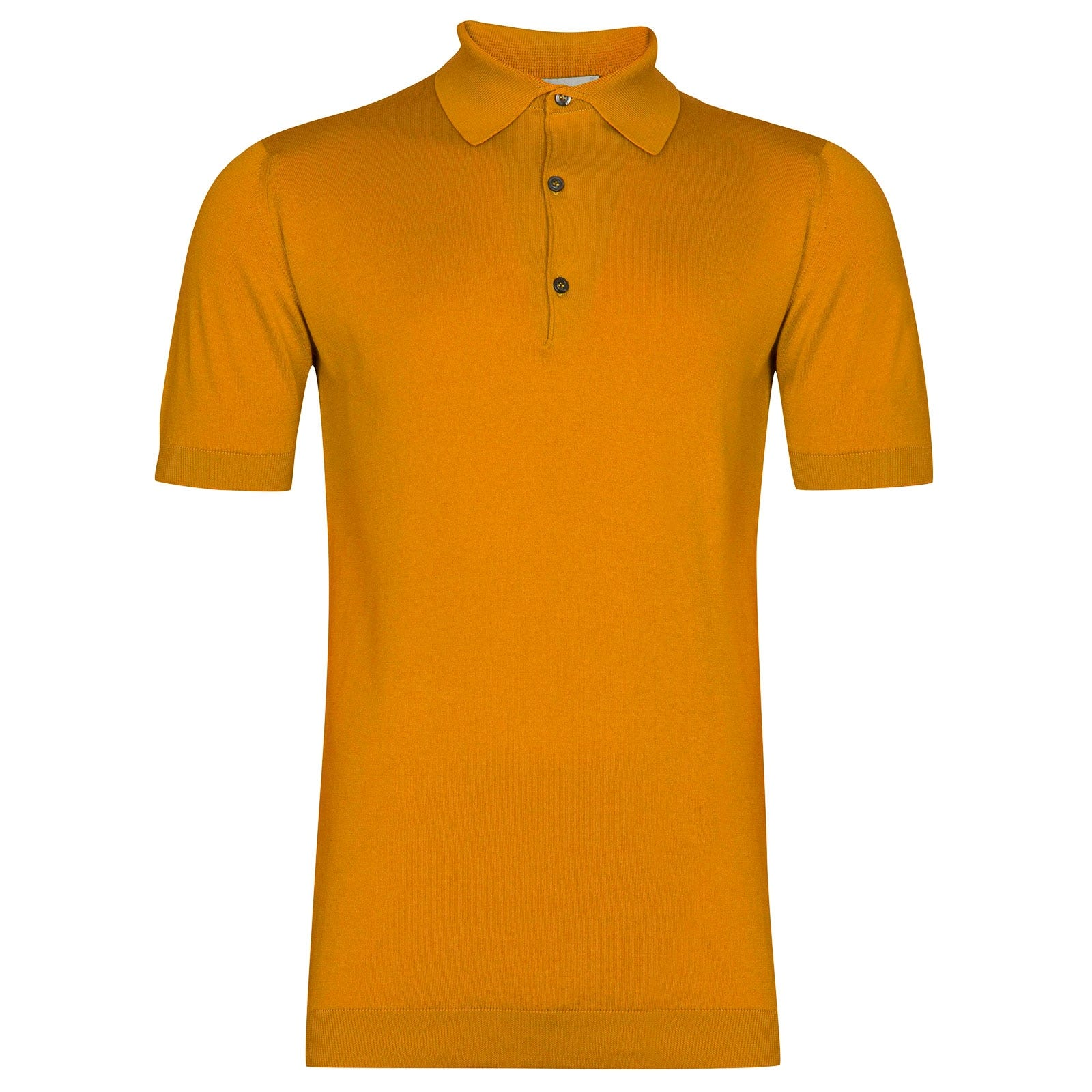 John Smedley Adrian Sea Island Cotton Shirt in Topstitch Orange-L