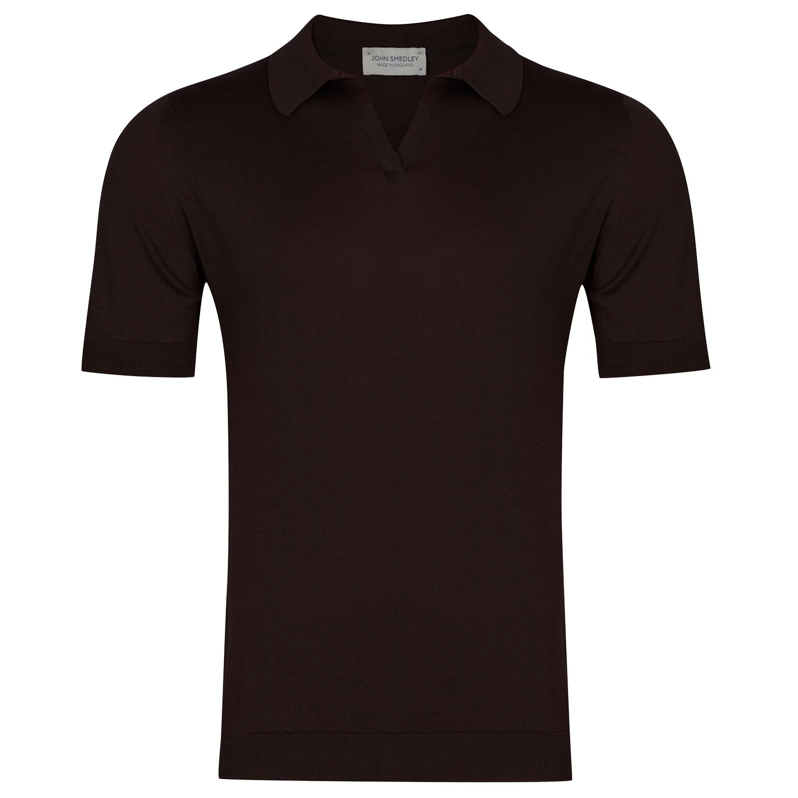 John Smedley Ancona in Dark Leather Shirt-SML