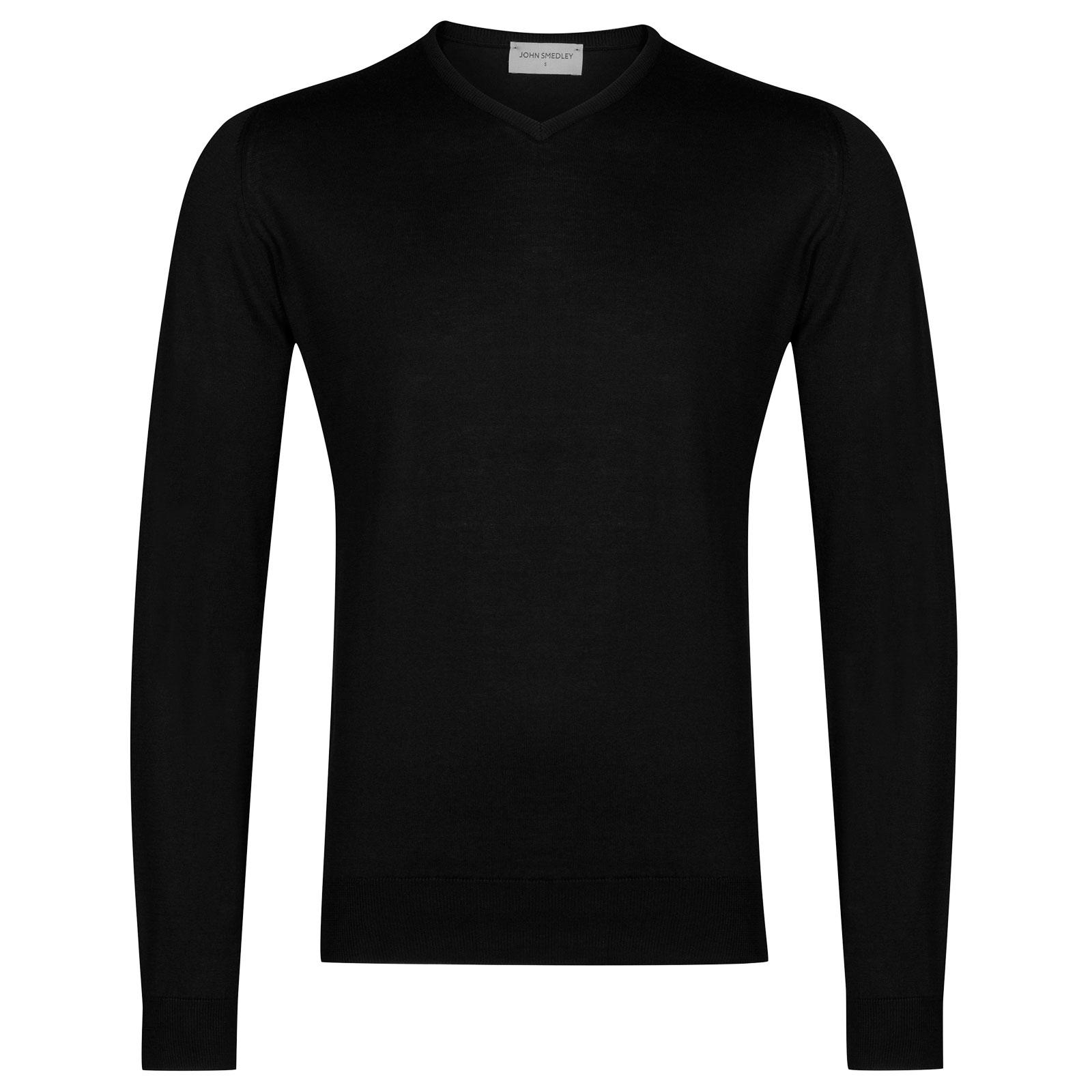 John Smedley Aydon Sea Island Cotton Pullover in Black-XL