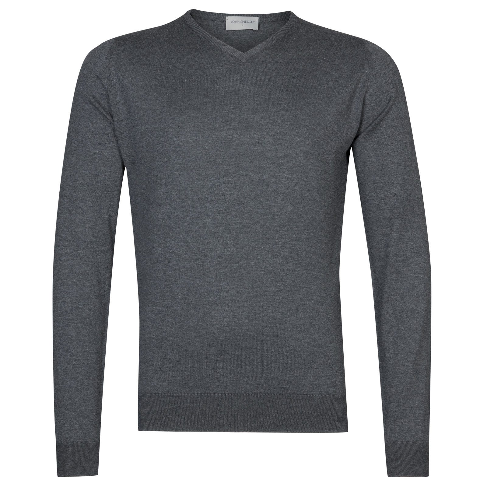 John Smedley Aydon Sea Island Cotton Pullover in Charcoal-S