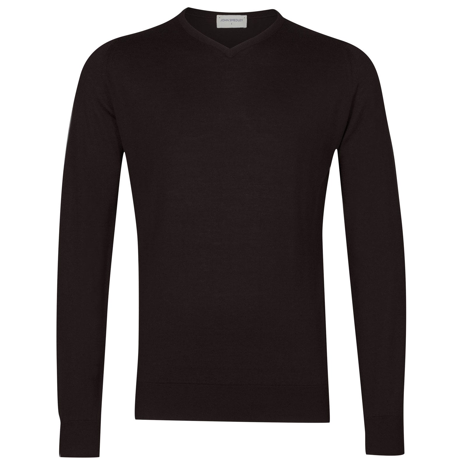 John Smedley Aydon Sea Island Cotton Pullover in Dark Leather-L