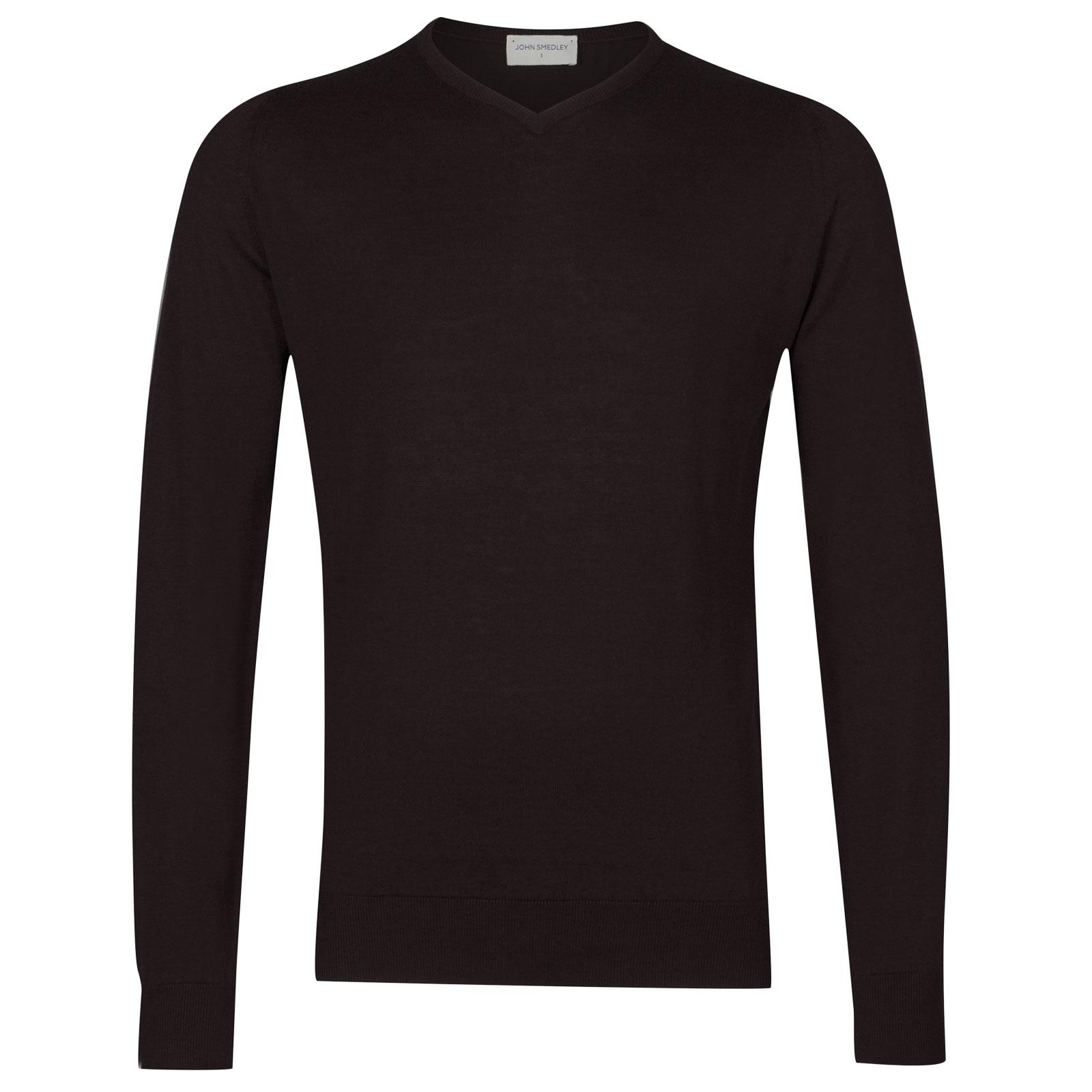 John Smedley Aydon Sea Island Cotton Pullover in Dark Leather-L