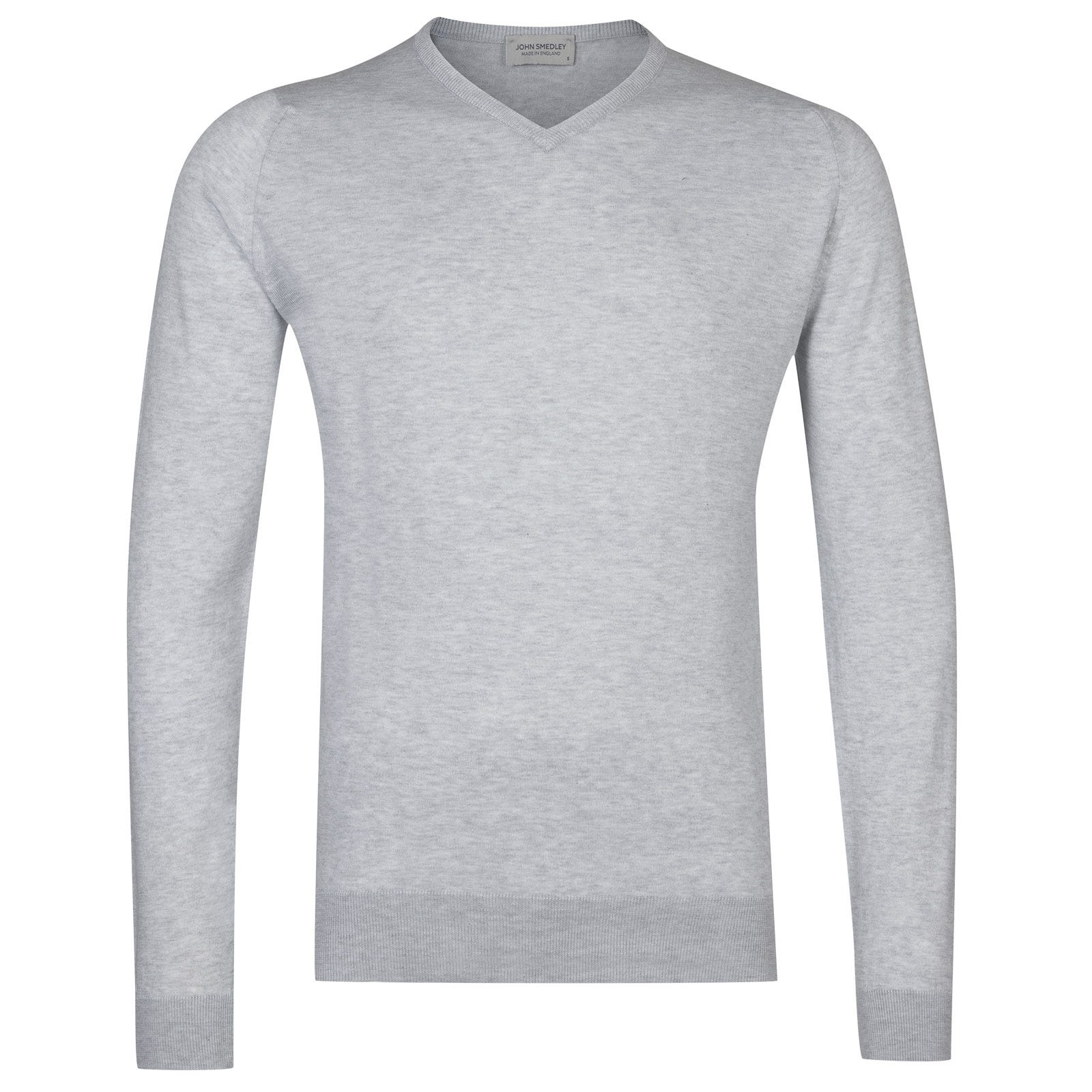 John Smedley Aydon Sea Island Cotton Pullover in Feather Grey-XL