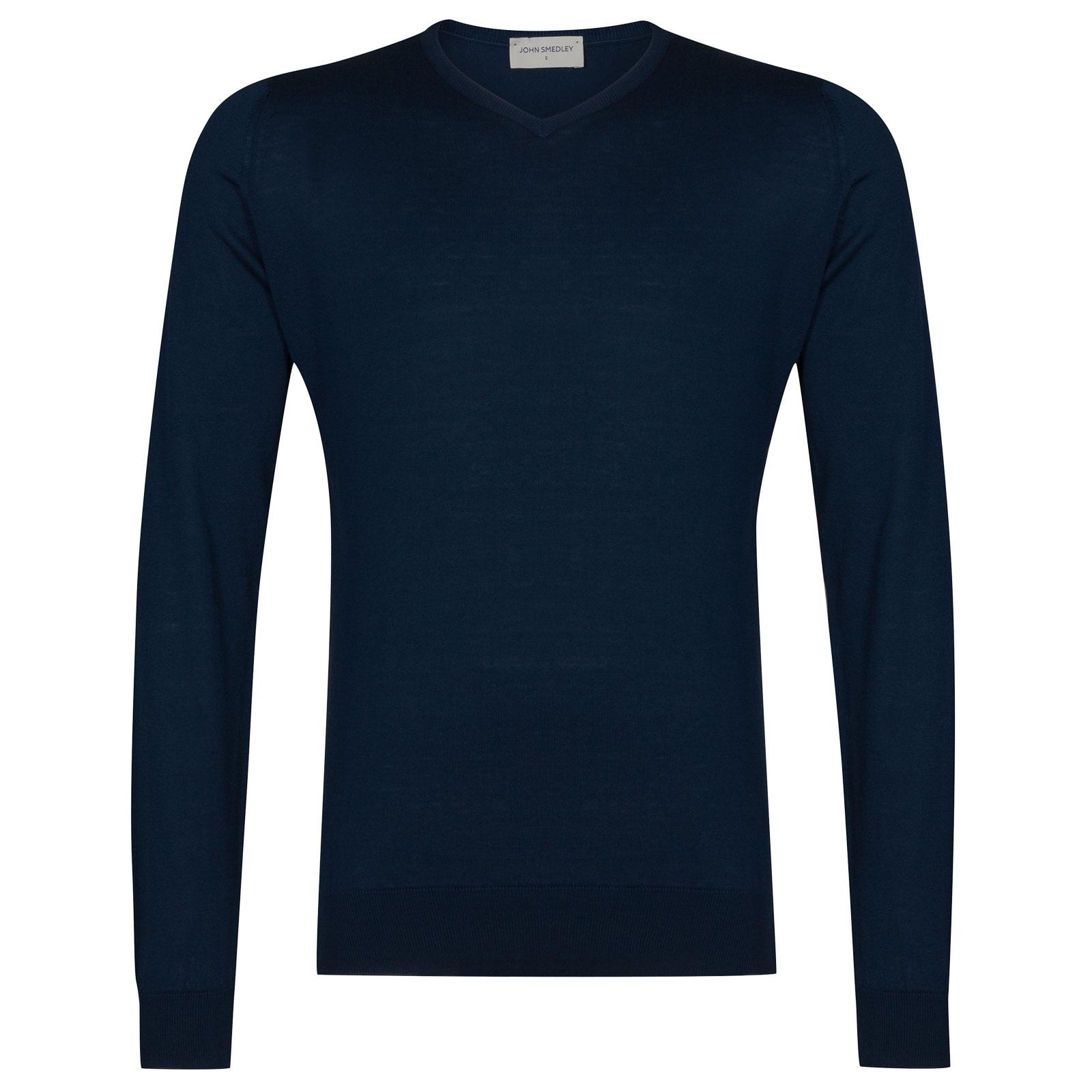 John Smedley Aydon Sea Island Cotton Pullover in Indigo-M