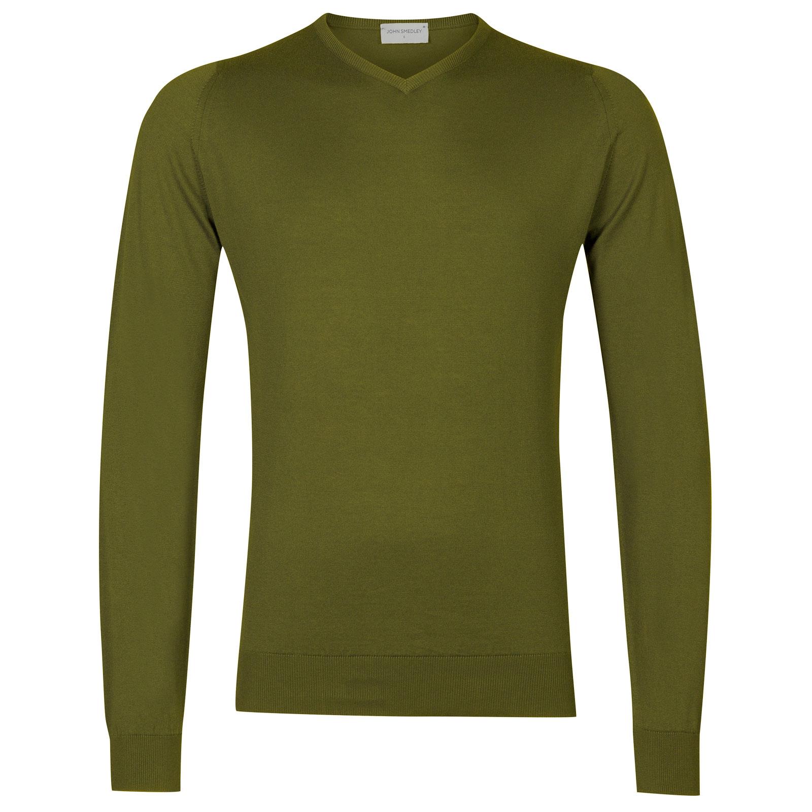 John Smedley Aydon Sea Island Cotton Pullover in Lumsdale Green-XL