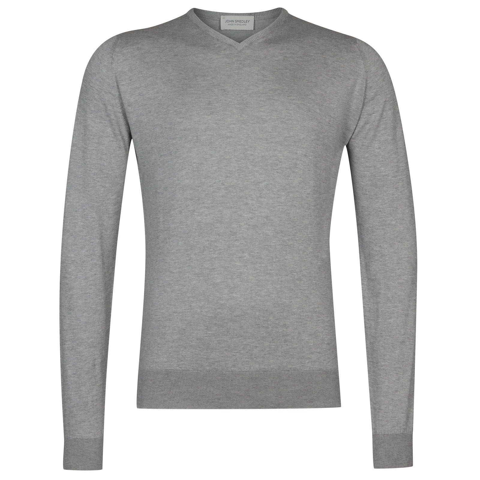 John Smedley Aydon Sea Island Cotton Pullover in Silver-XL