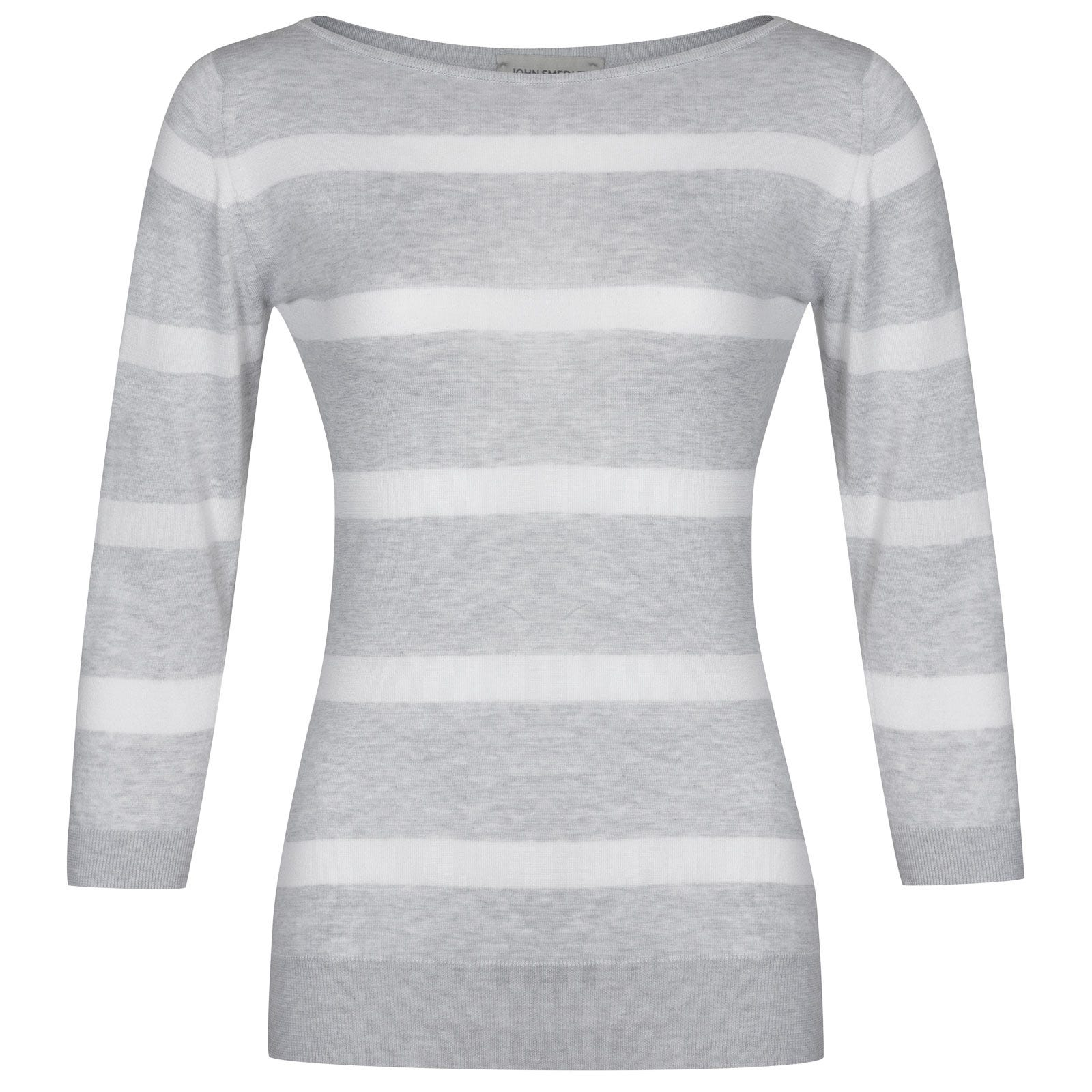John Smedley Ayton in Feather Grey/White-S