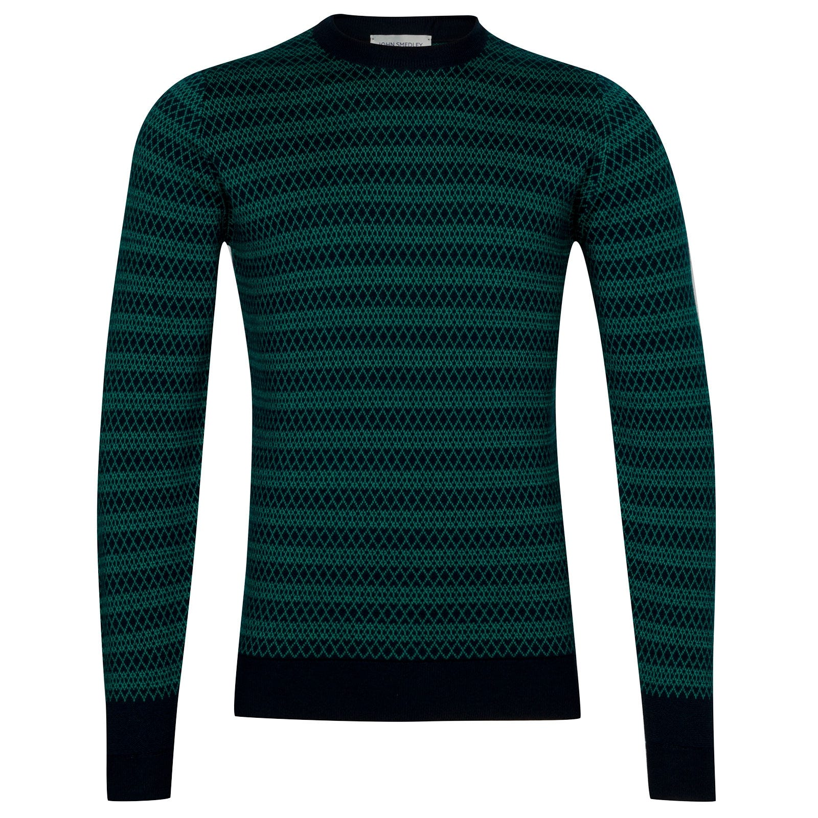 John Smedley Baldo Extra Fine Merino Wool Pullover in Orion Green-XL