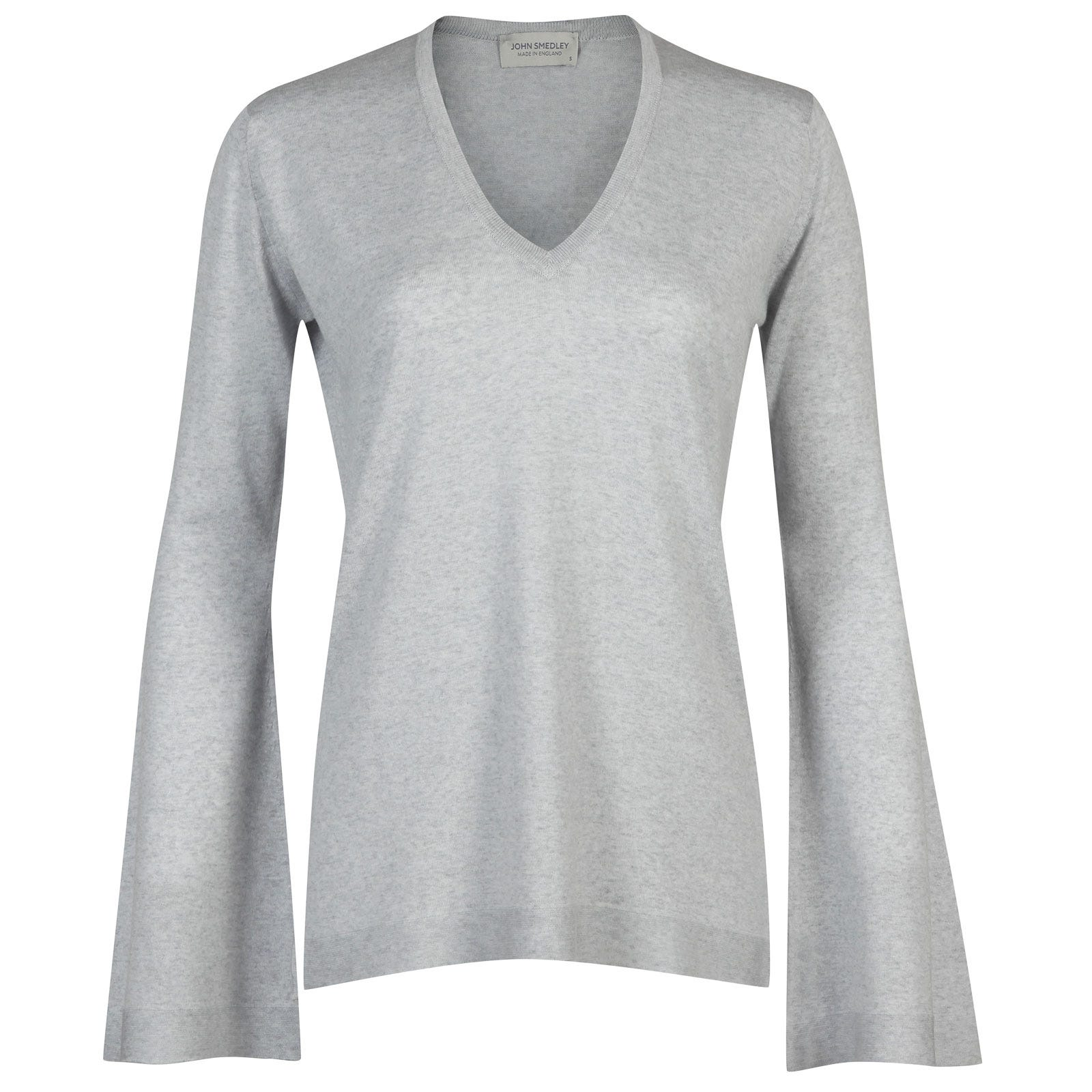 John Smedley bannerman Merino Wool Sweater in Bardot Grey-XL