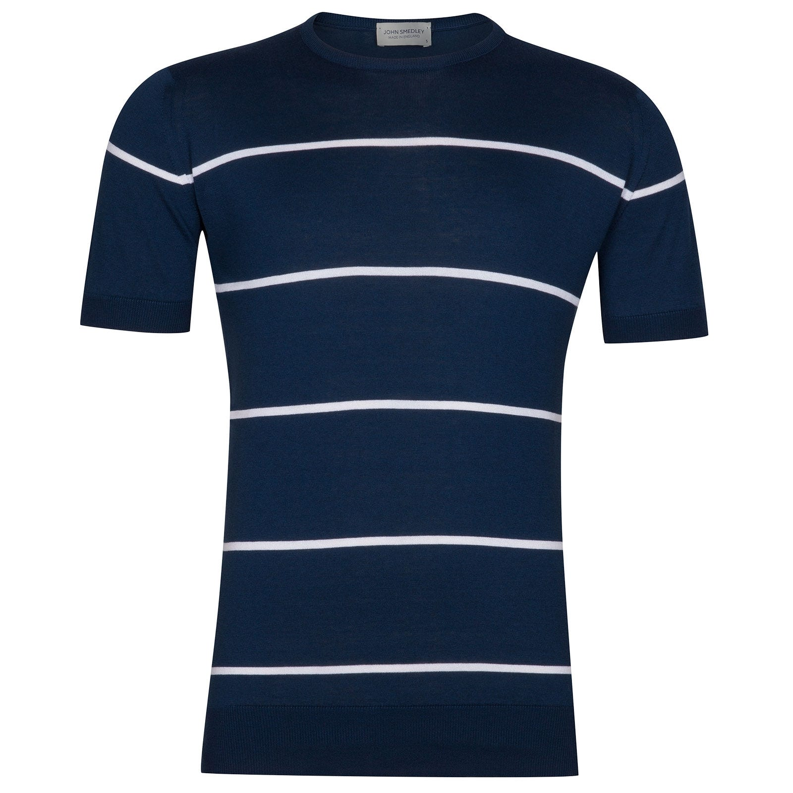 John Smedley Barlby Sea Island Cotton T-Shirt in Indigo-XL