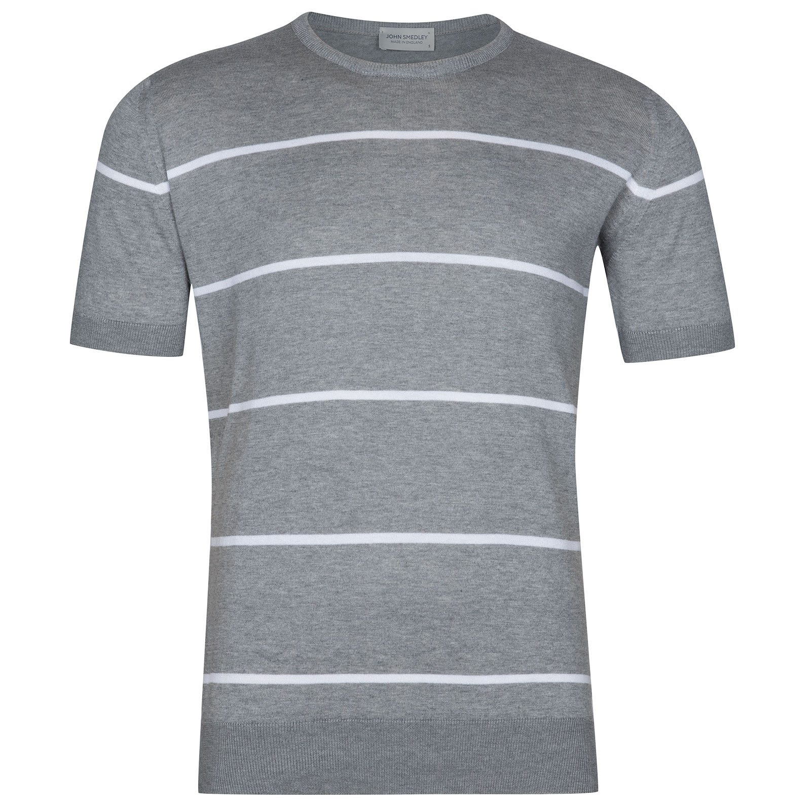 John Smedley Barlby Sea Island Cotton T-Shirt in Silver-XXL