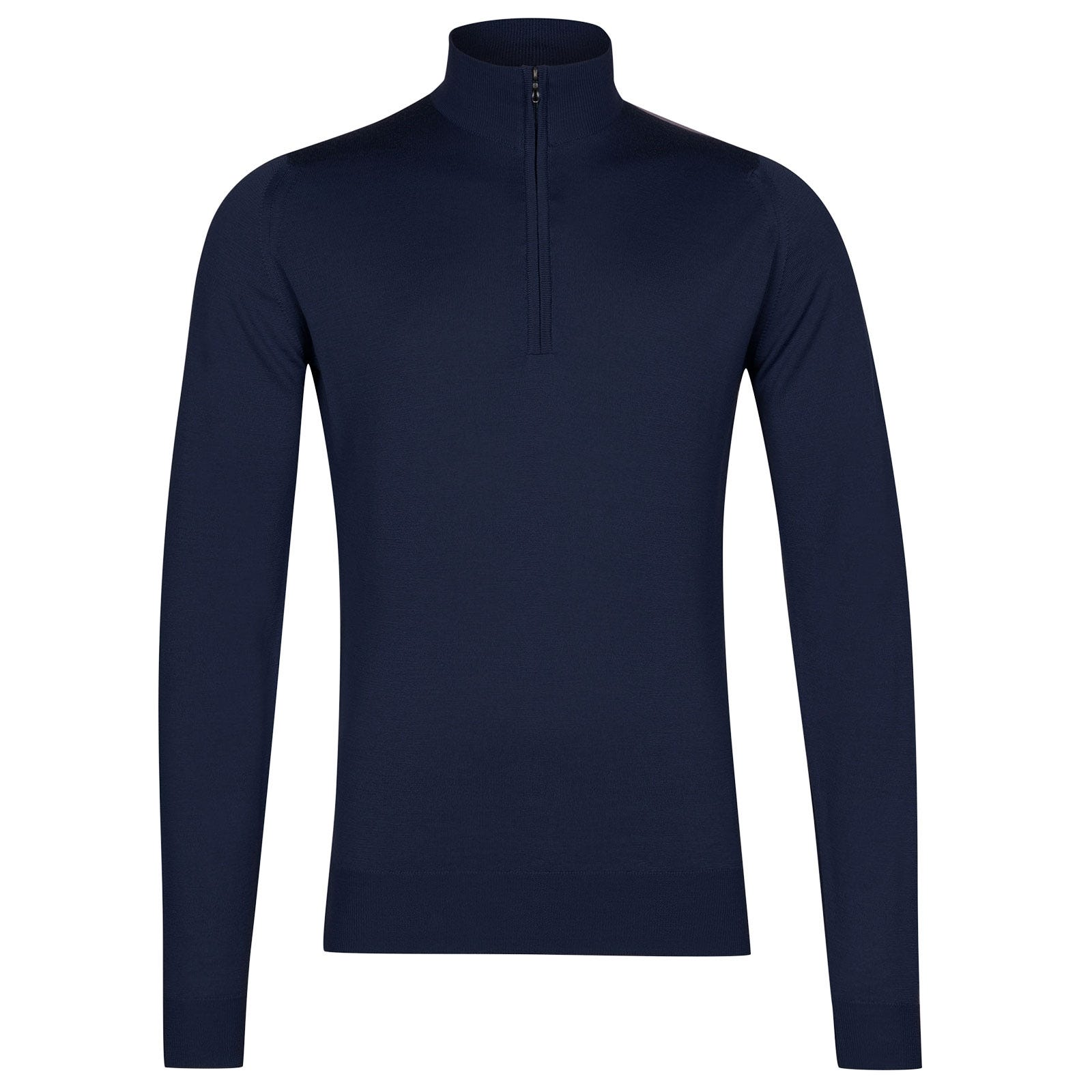 John Smedley Barrow Merino Wool Pullover in Magnetic Cobalt-XL
