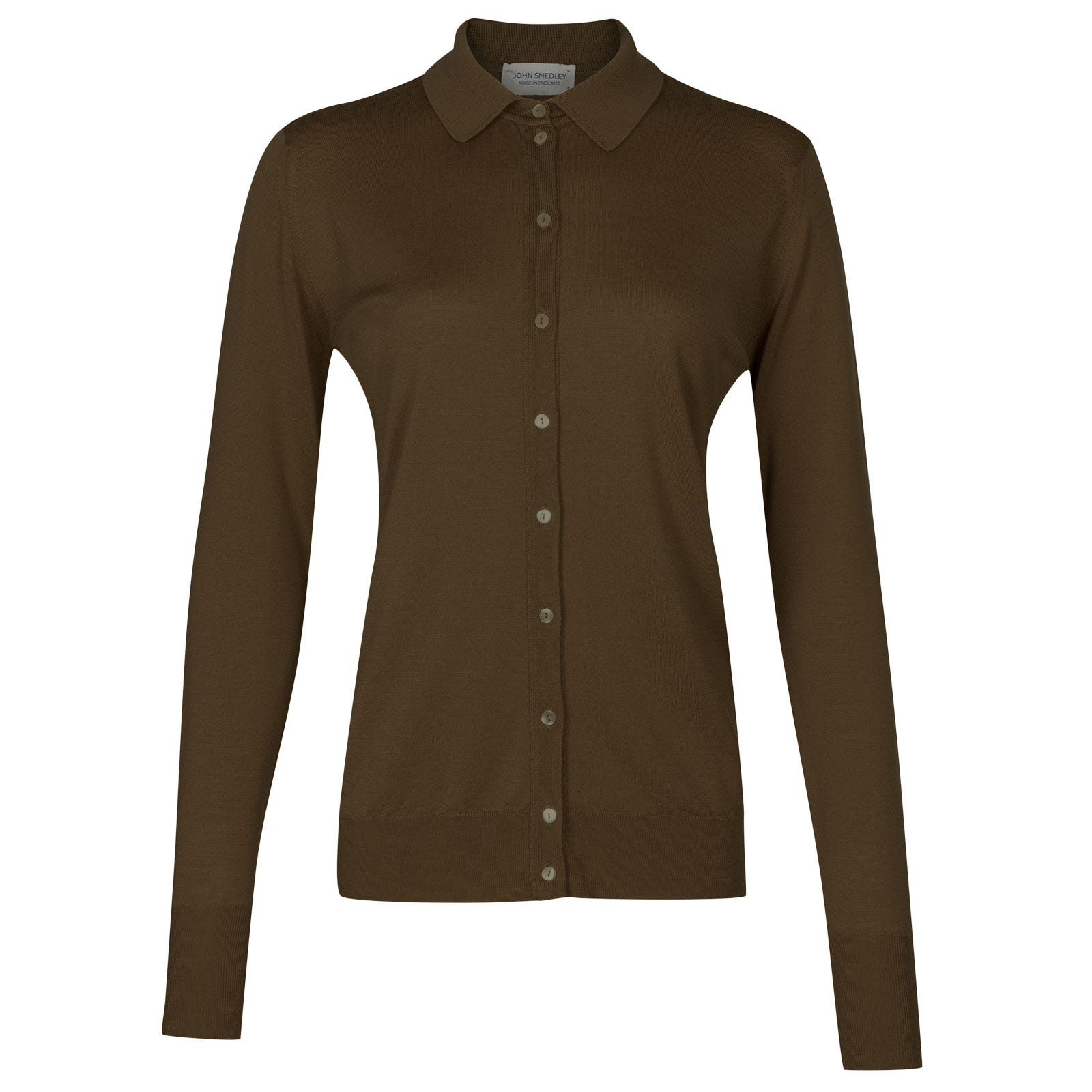 John Smedley bartley Merino Wool Shirt in Kielder Green-S
