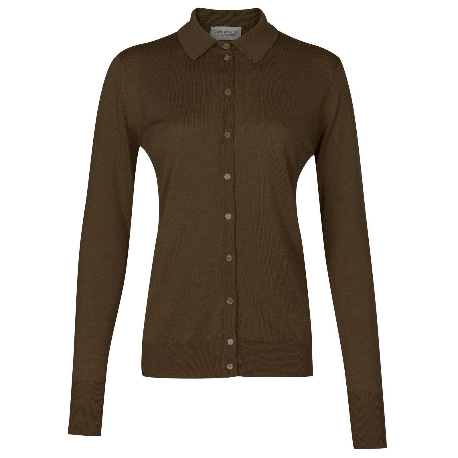 John Smedley bartley Merino Wool Shirt in Kielder Green-XL