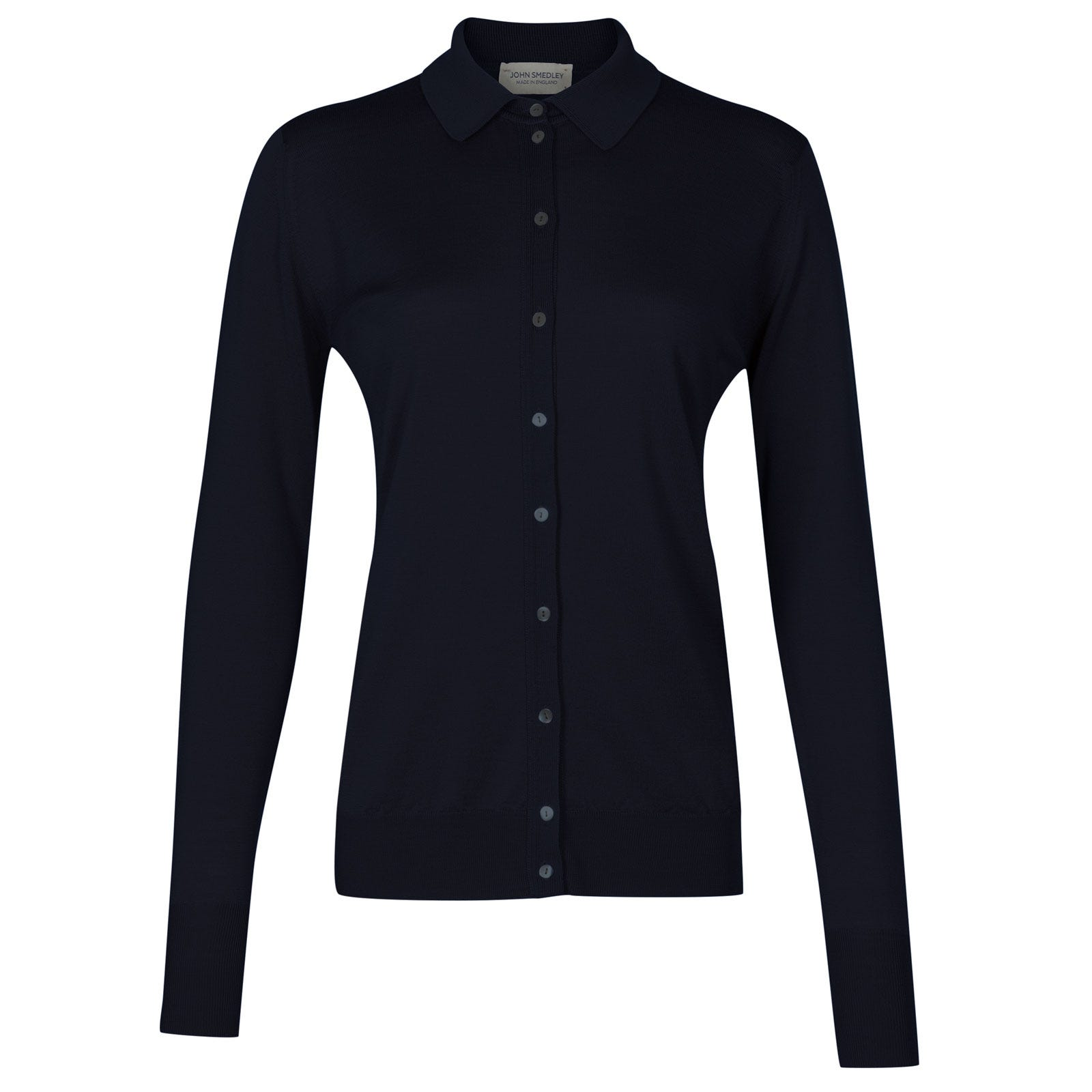 John Smedley bartley Merino Wool Shirt in Midnight-XL