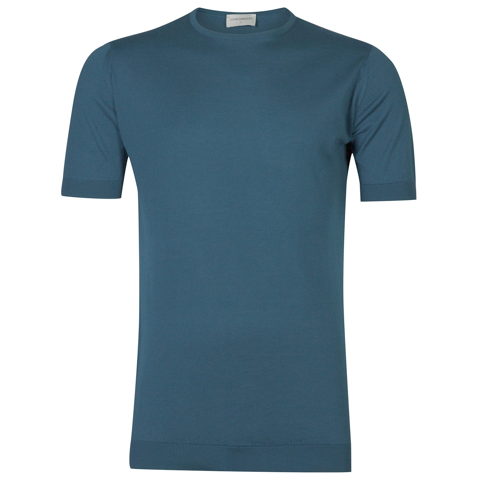 John Smedley Belden Sea Island Cotton T-shirt in Bias Blue-XXL