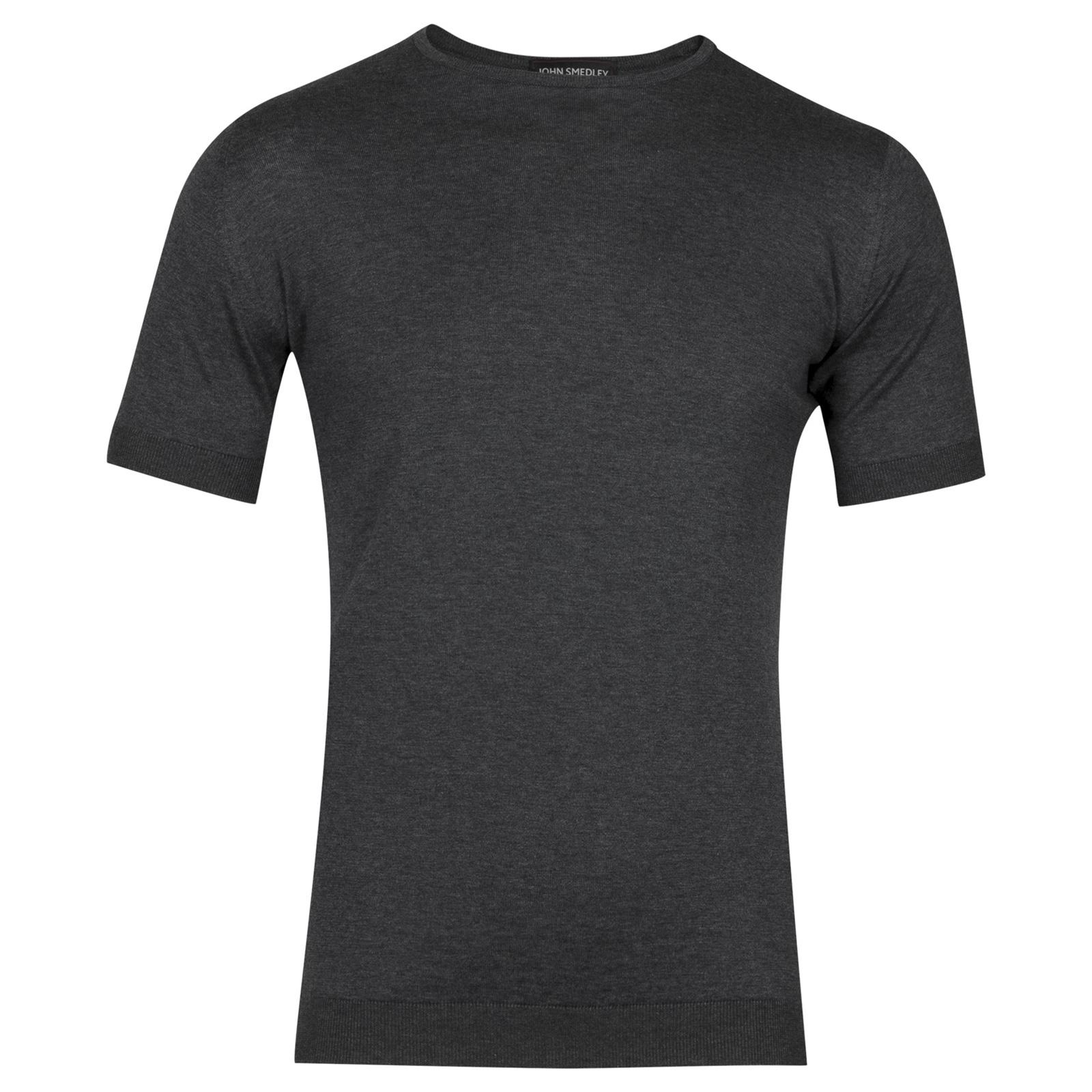 John Smedley belden Sea Island Cotton T-shirt in Charcoal-L