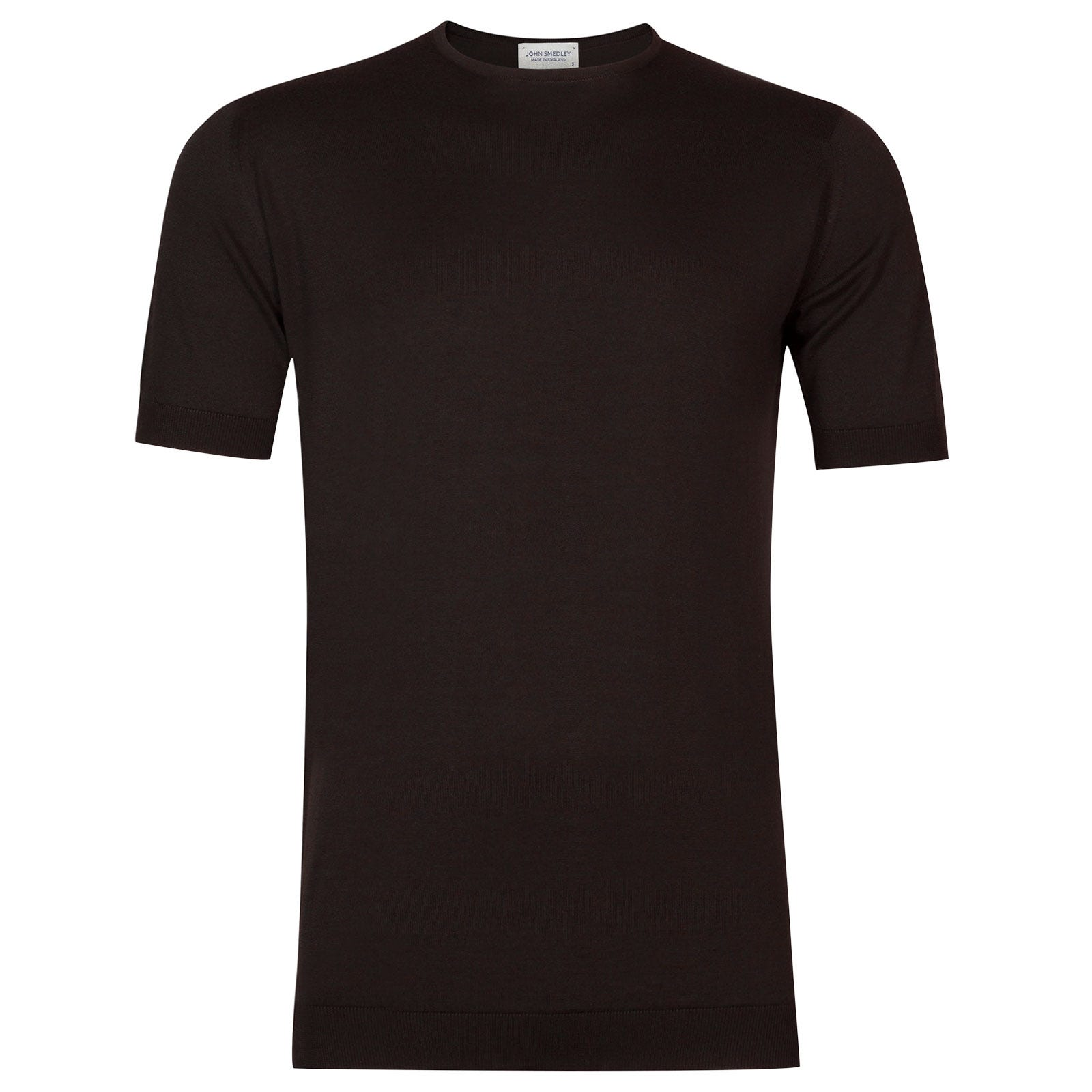 John Smedley Belden Sea Island Cotton T-shirt in Dark Leather-L