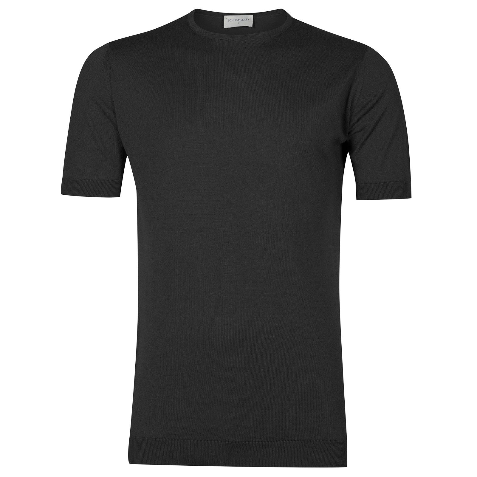 John Smedley Belden Sea Island Cotton T-shirt in Flannel Grey-XL