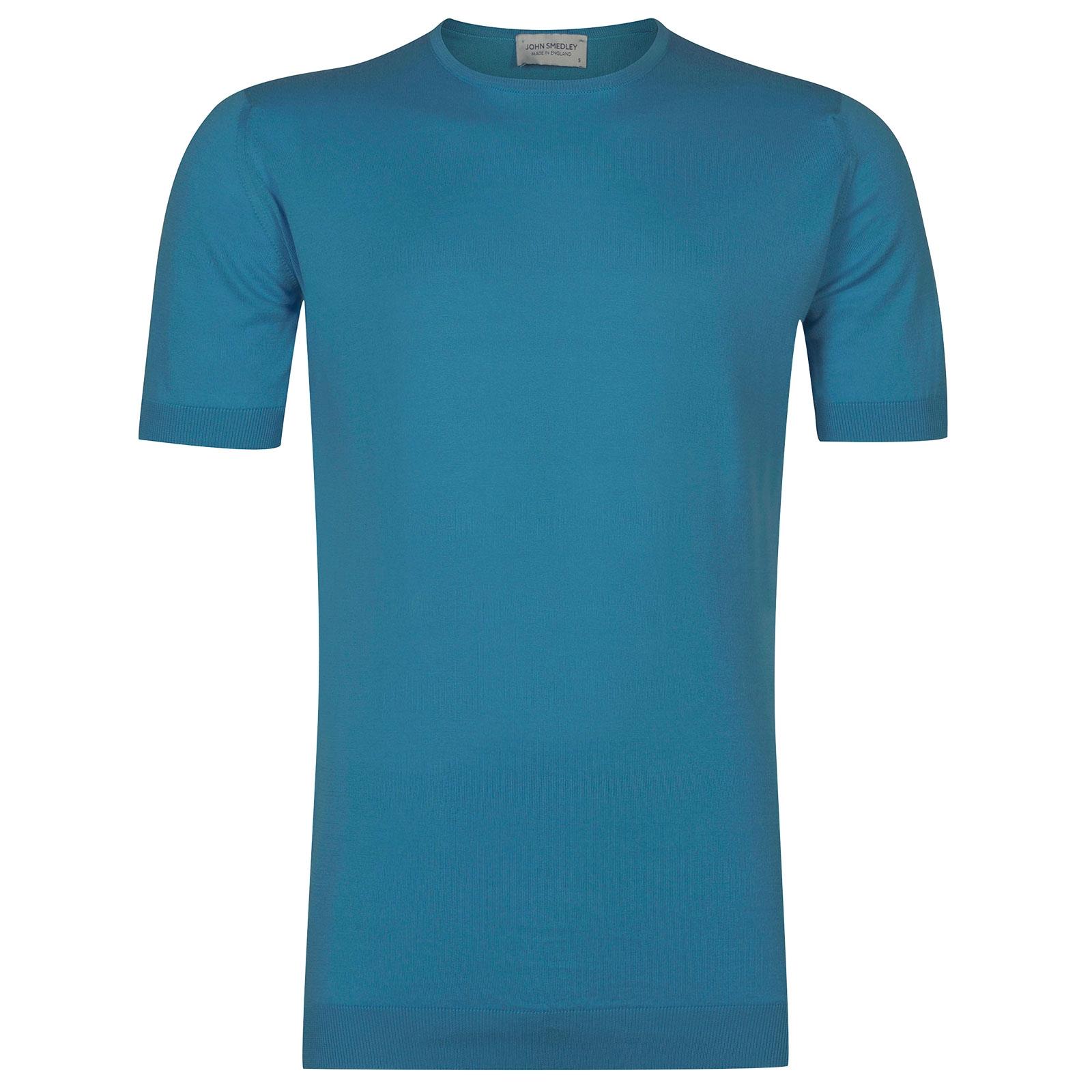 John Smedley Belden Sea Island Cotton T-shirt in Ionize Blue-XL