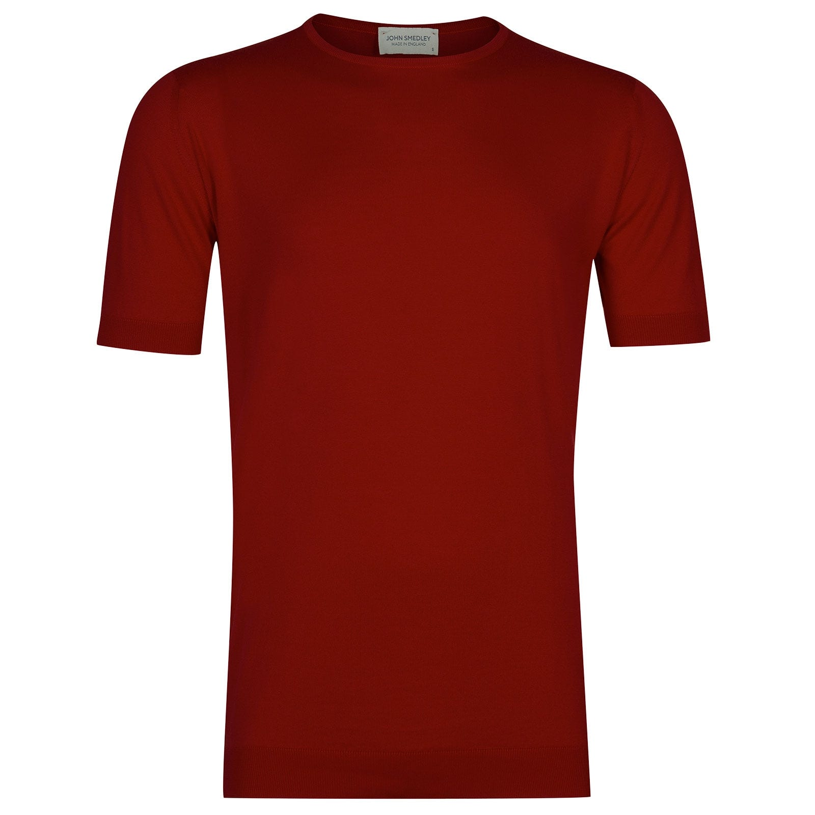 John Smedley Belden Sea Island Cotton T-shirt in Thermal Red-XXL