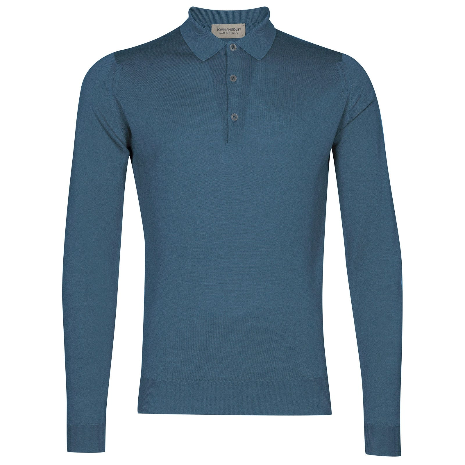 John Smedley Belper Merino Wool Shirt in Bias Blue-XXL