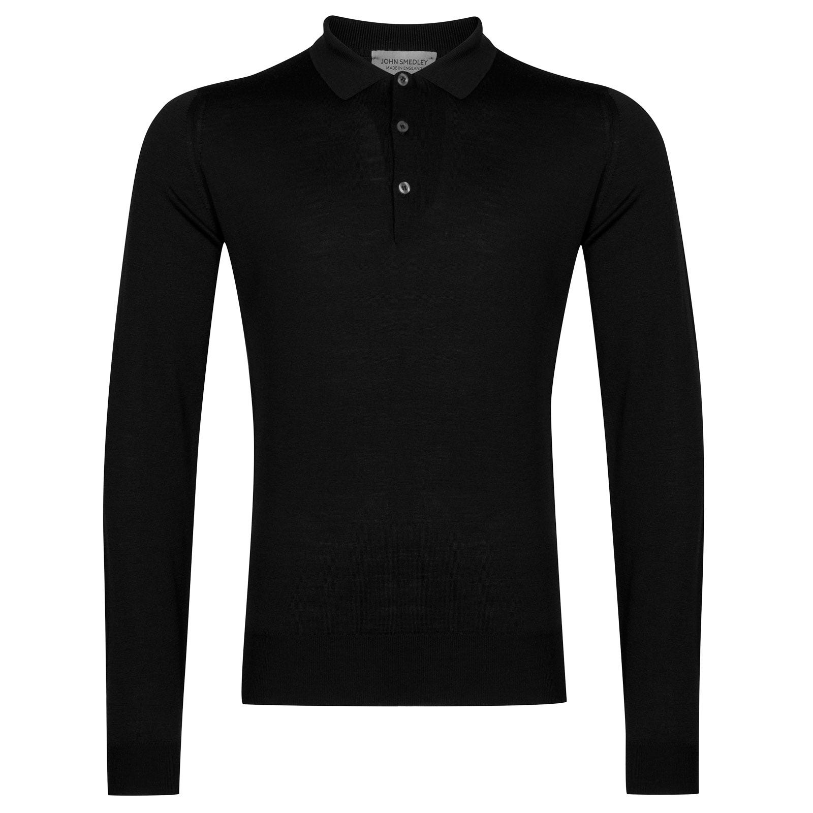 John Smedley Belper Merino Wool Shirt in Black-L