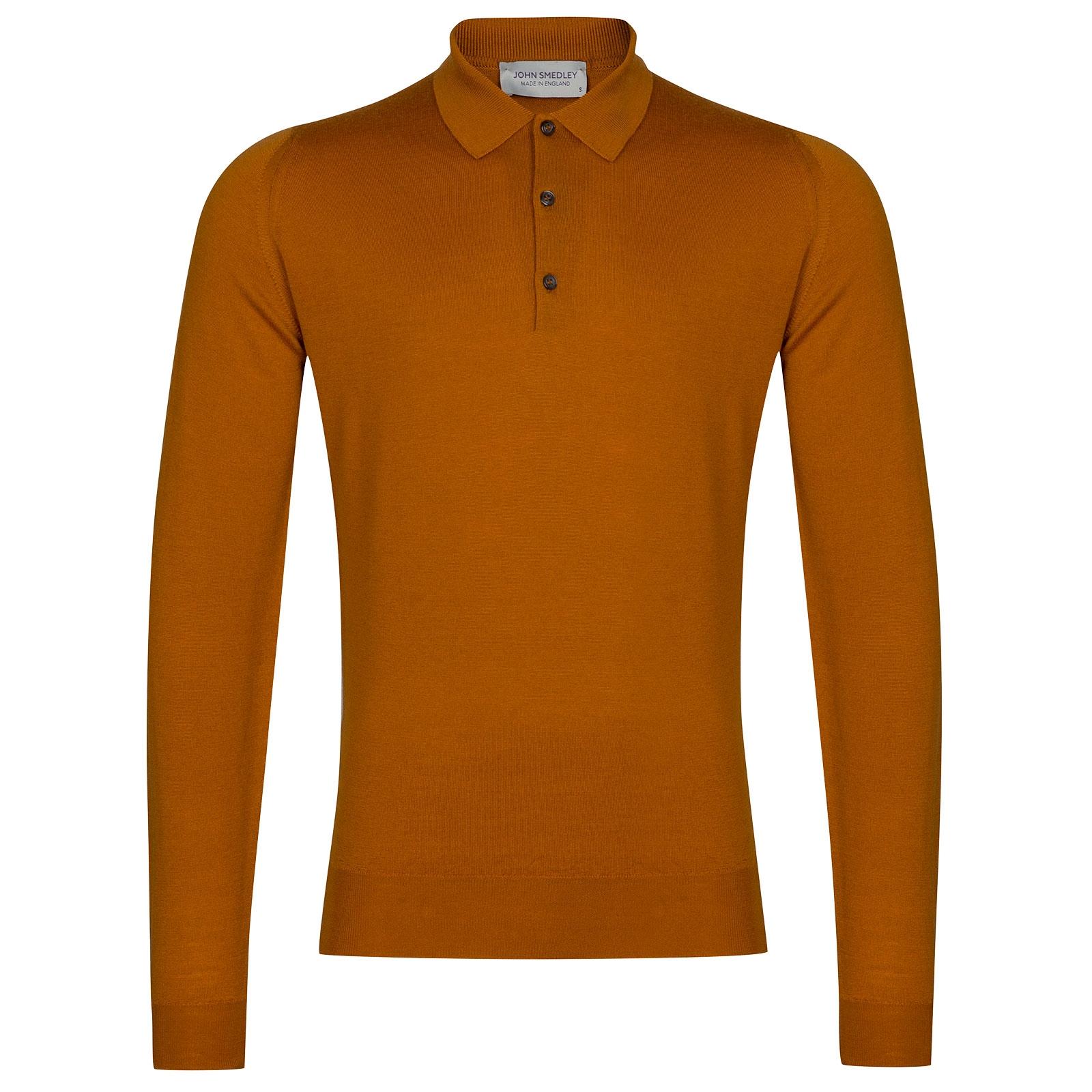 John Smedley Belper Merino Wool Shirt in Bronze-XL