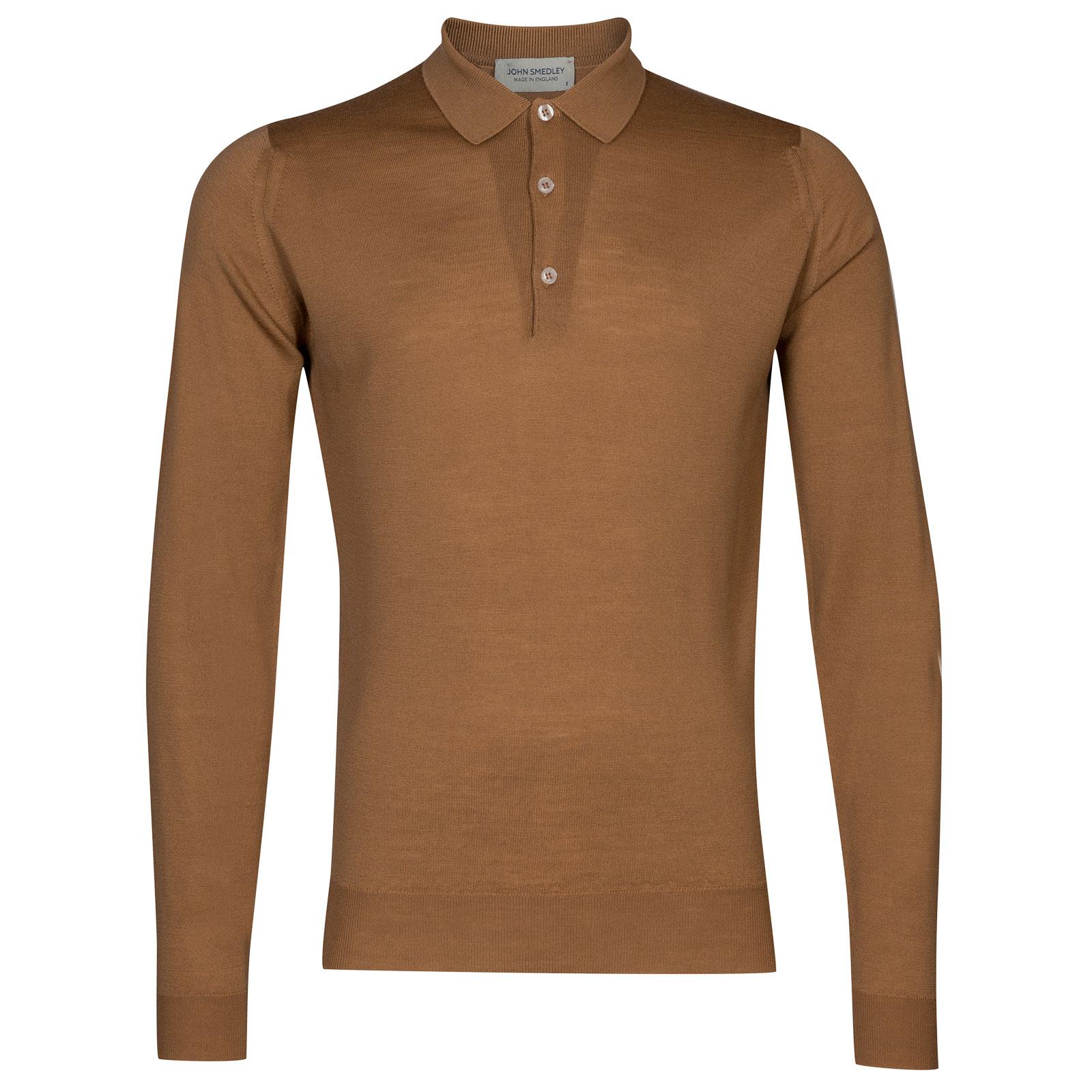John Smedley belper Merino Wool Shirt in Camel-XL