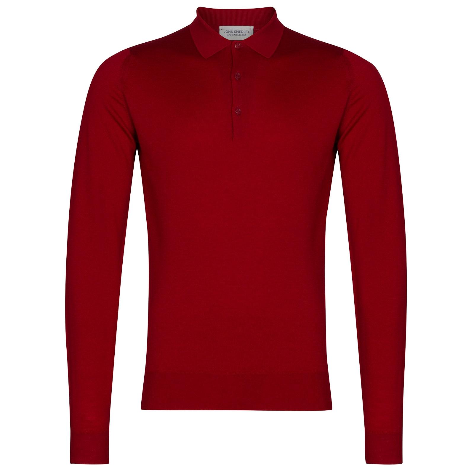 John Smedley Belper Merino Wool Shirt in Dandy Red-S