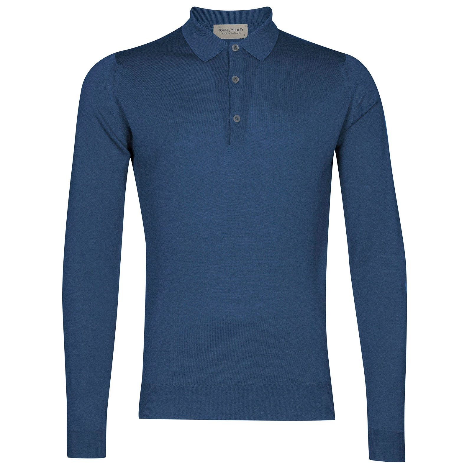 John Smedley belper Merino Wool Shirt in Derwent Blue-XL