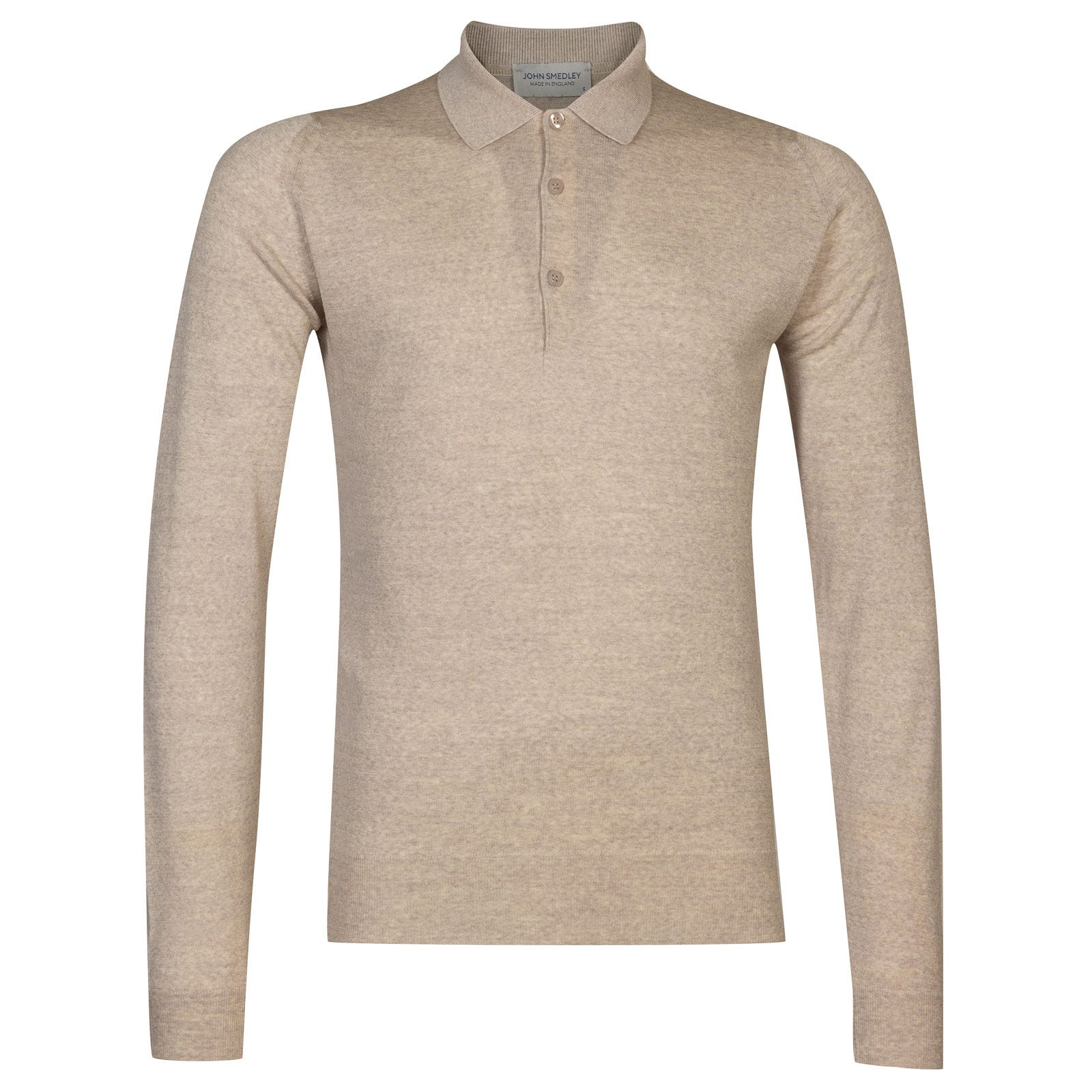 John Smedley Belper Merino Wool Shirt in Eastwood Beige-L