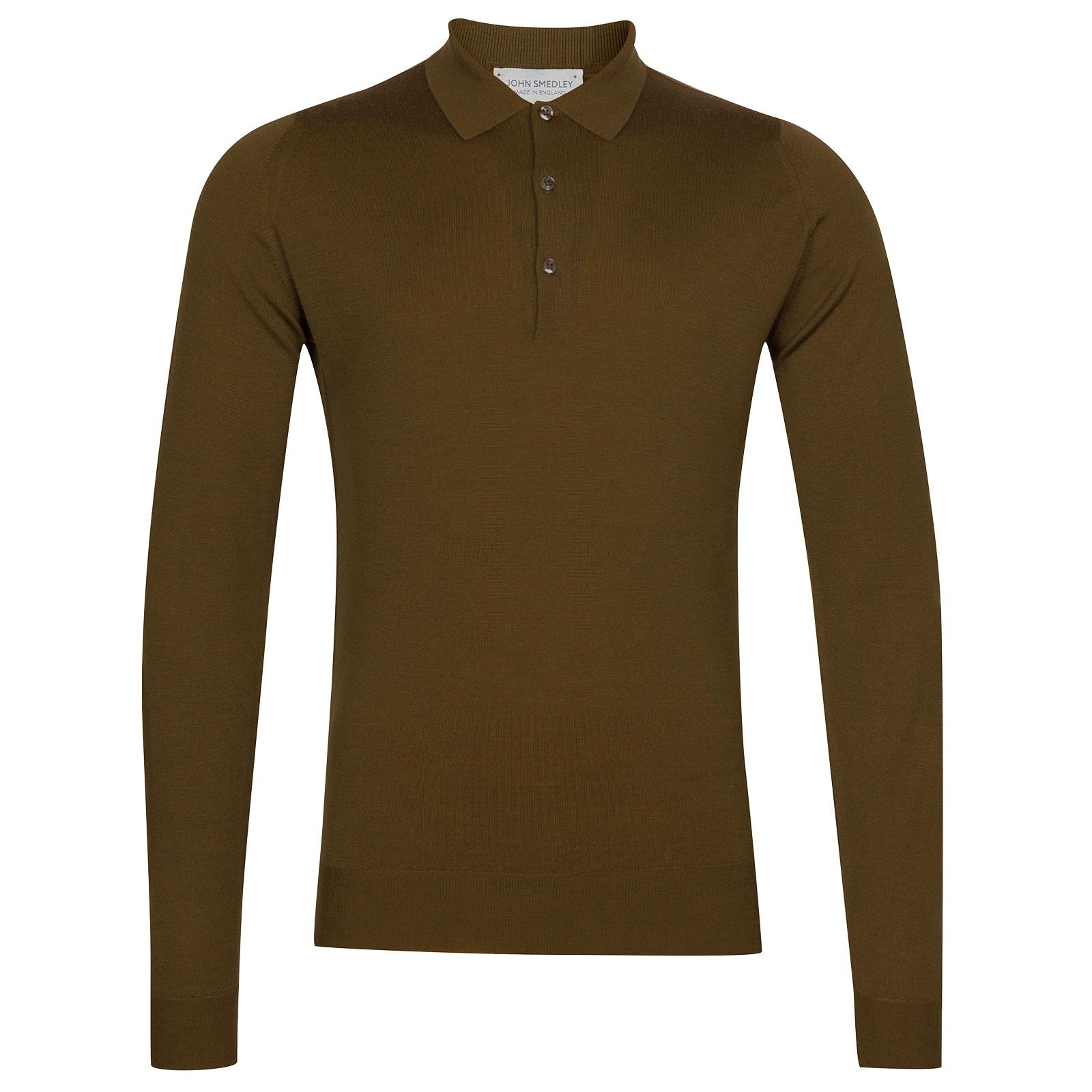 John Smedley Belper Merino Wool Shirt in Khaki-S