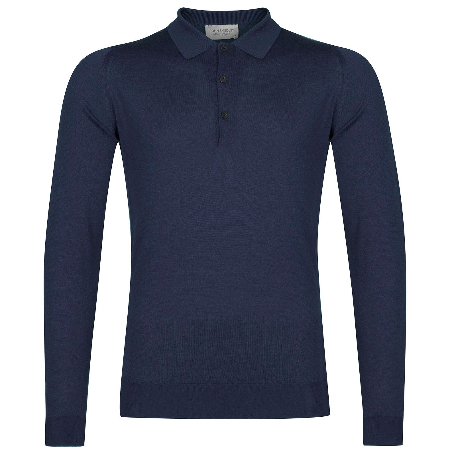 John Smedley Belper Merino Wool Shirt in Magnetic Cobalt-L