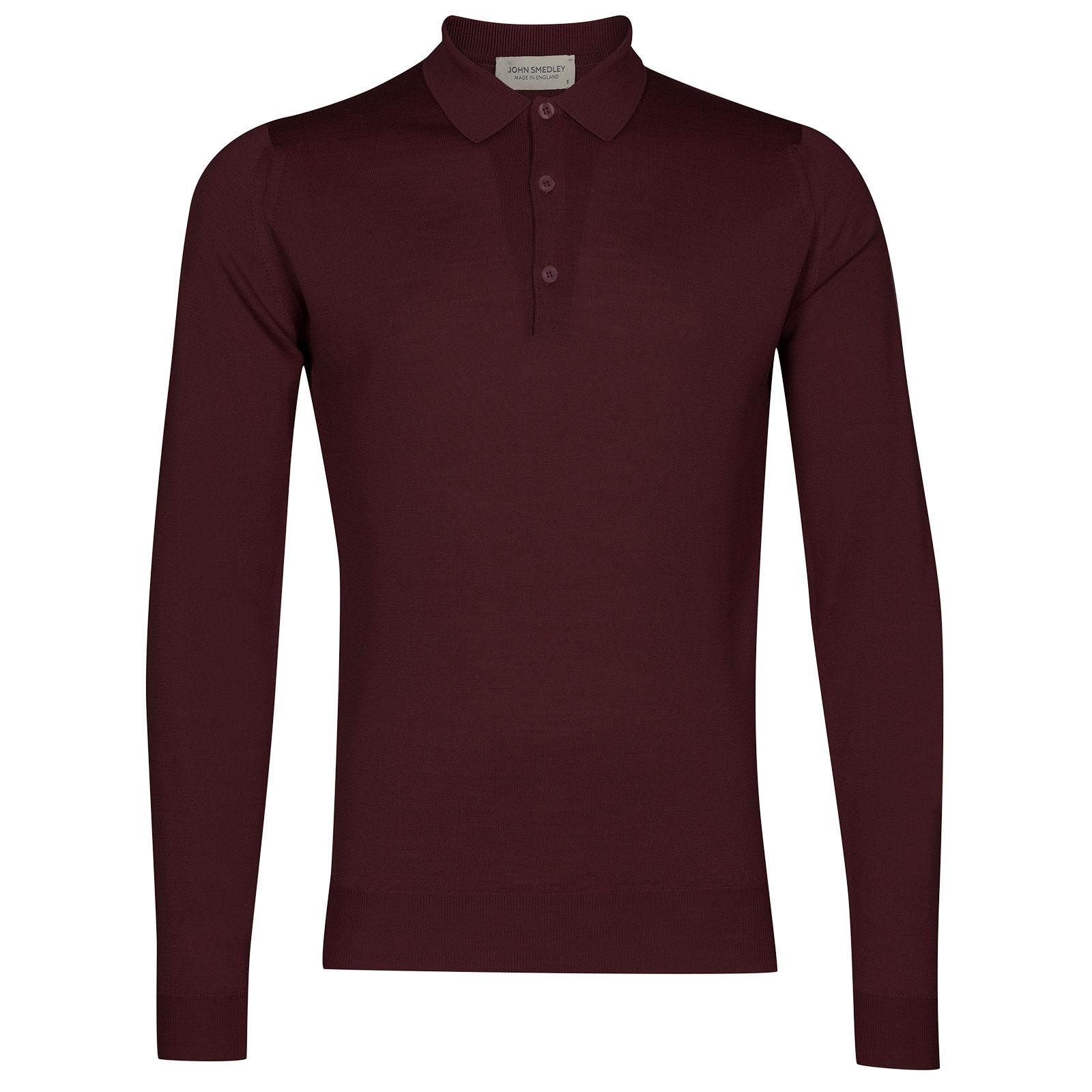 John Smedley belper Merino Wool Shirt in Maroon Blaze-L