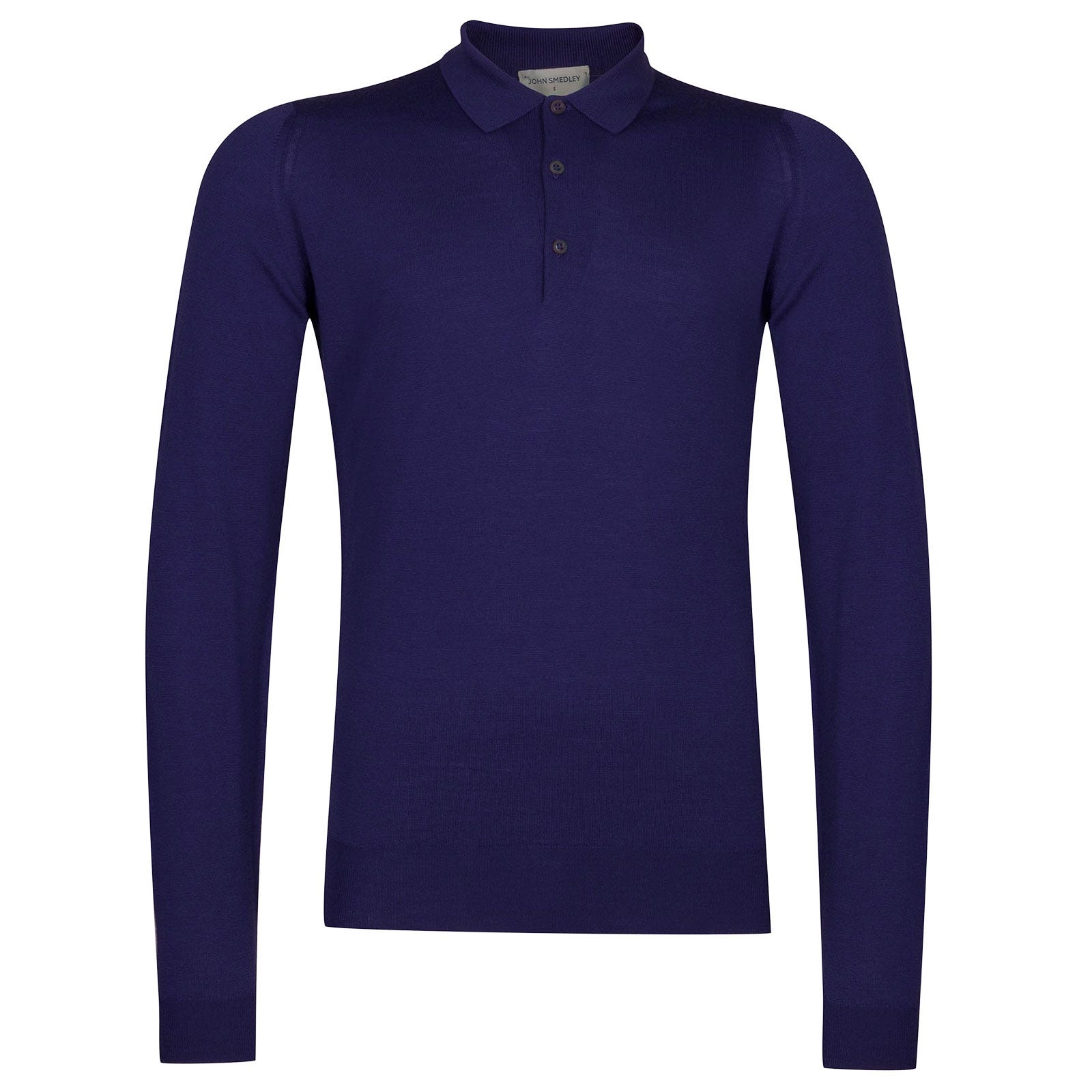 John Smedley Belper Merino Wool Shirt in Serge Blue-XXL