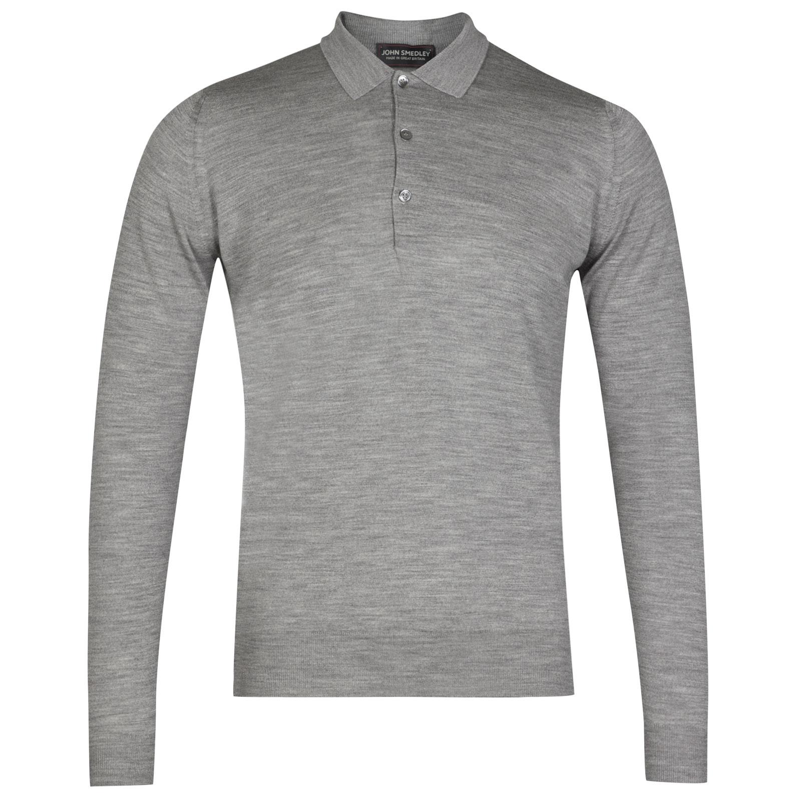John Smedley belper Merino Wool Shirt in Silver-XL